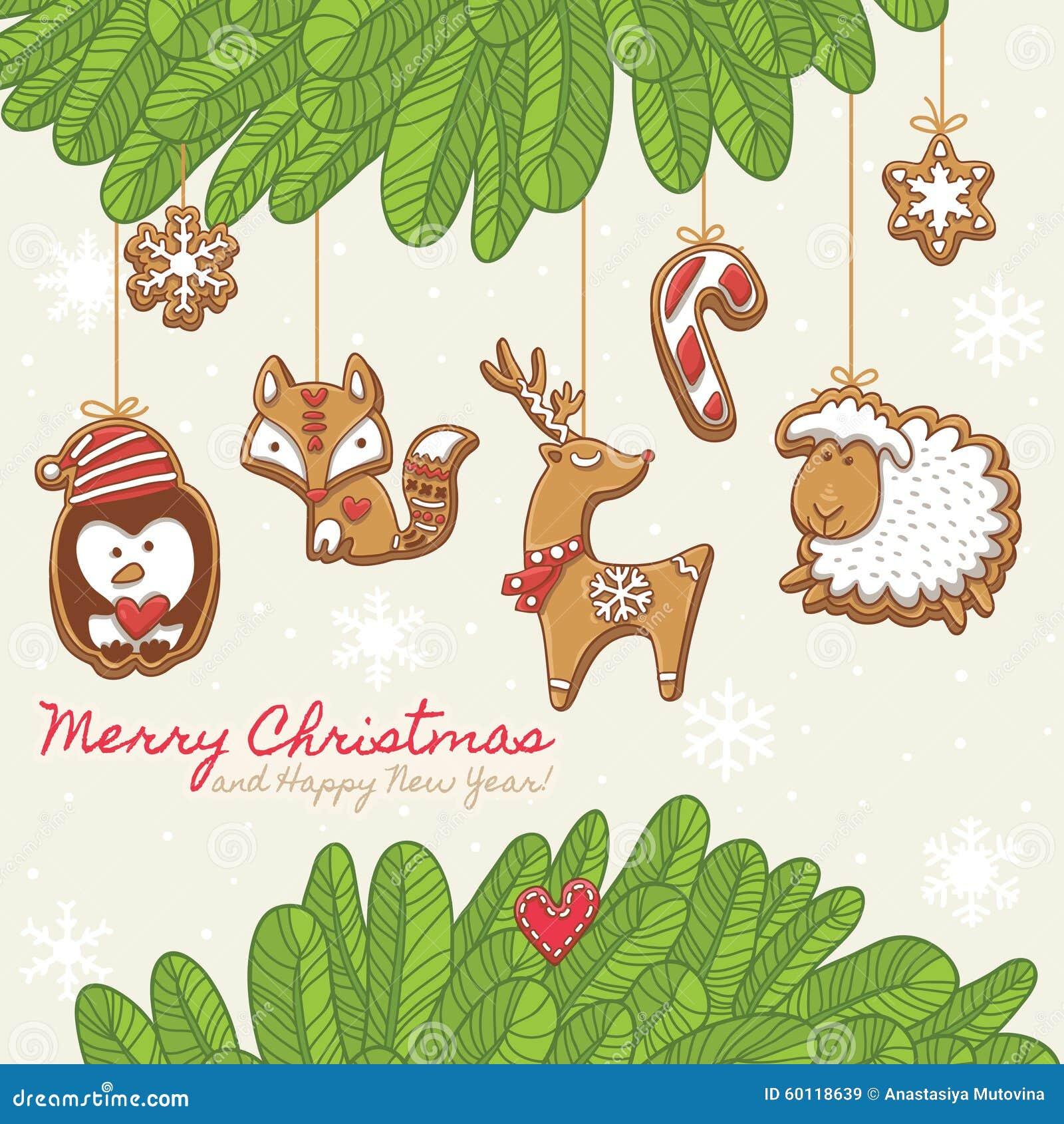 Cartão de Natal com cookies do pão-de-espécie Ilustração do vetor