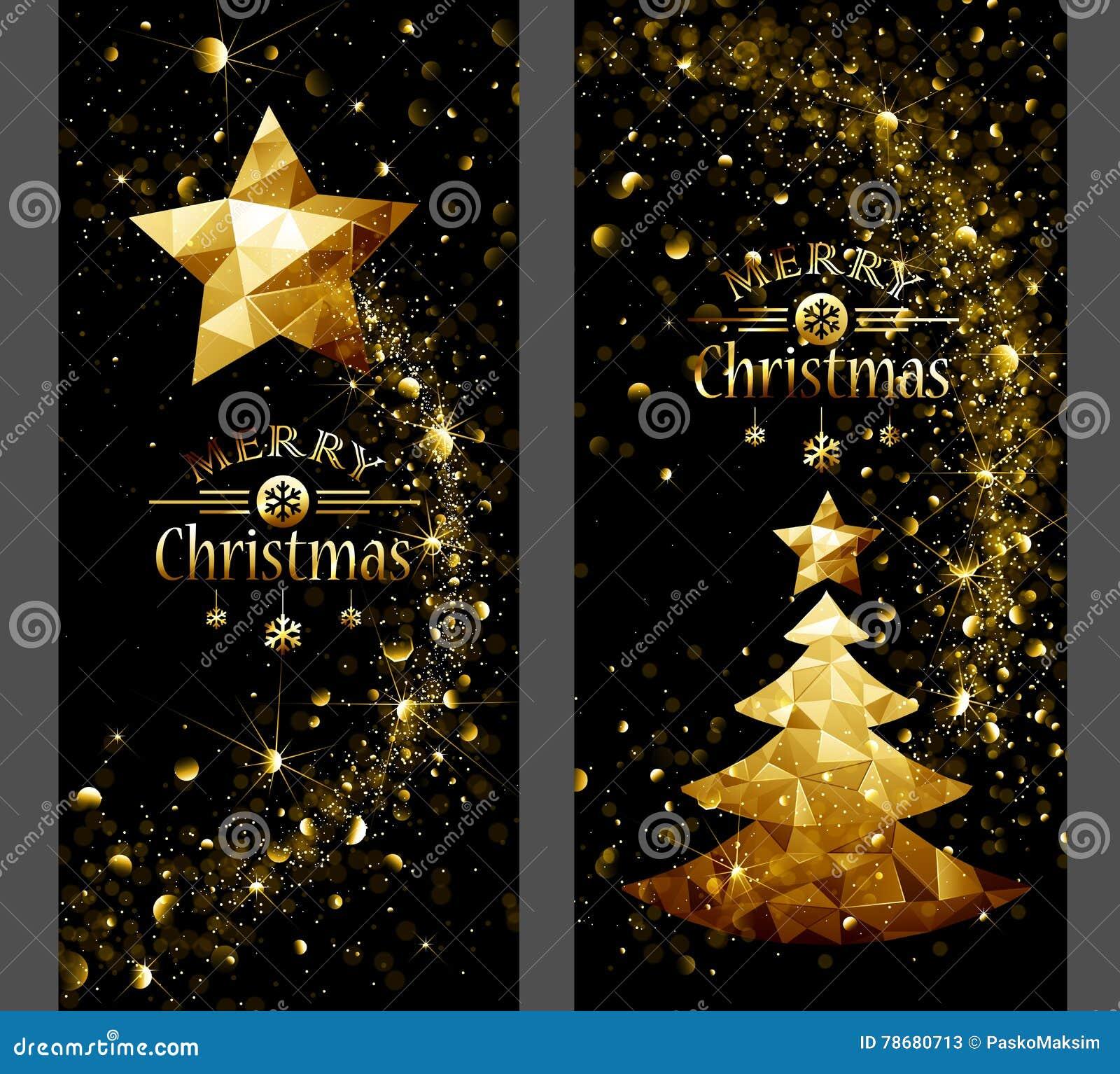 Cartão de Natal com estrela do ouro e árvores baixo polis