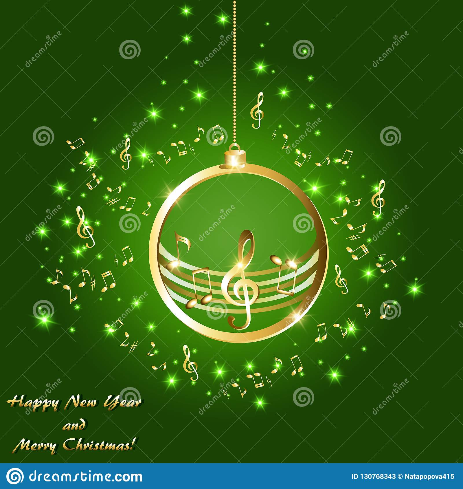 Cartão de Natal com notas musicais douradas em um fundo verde