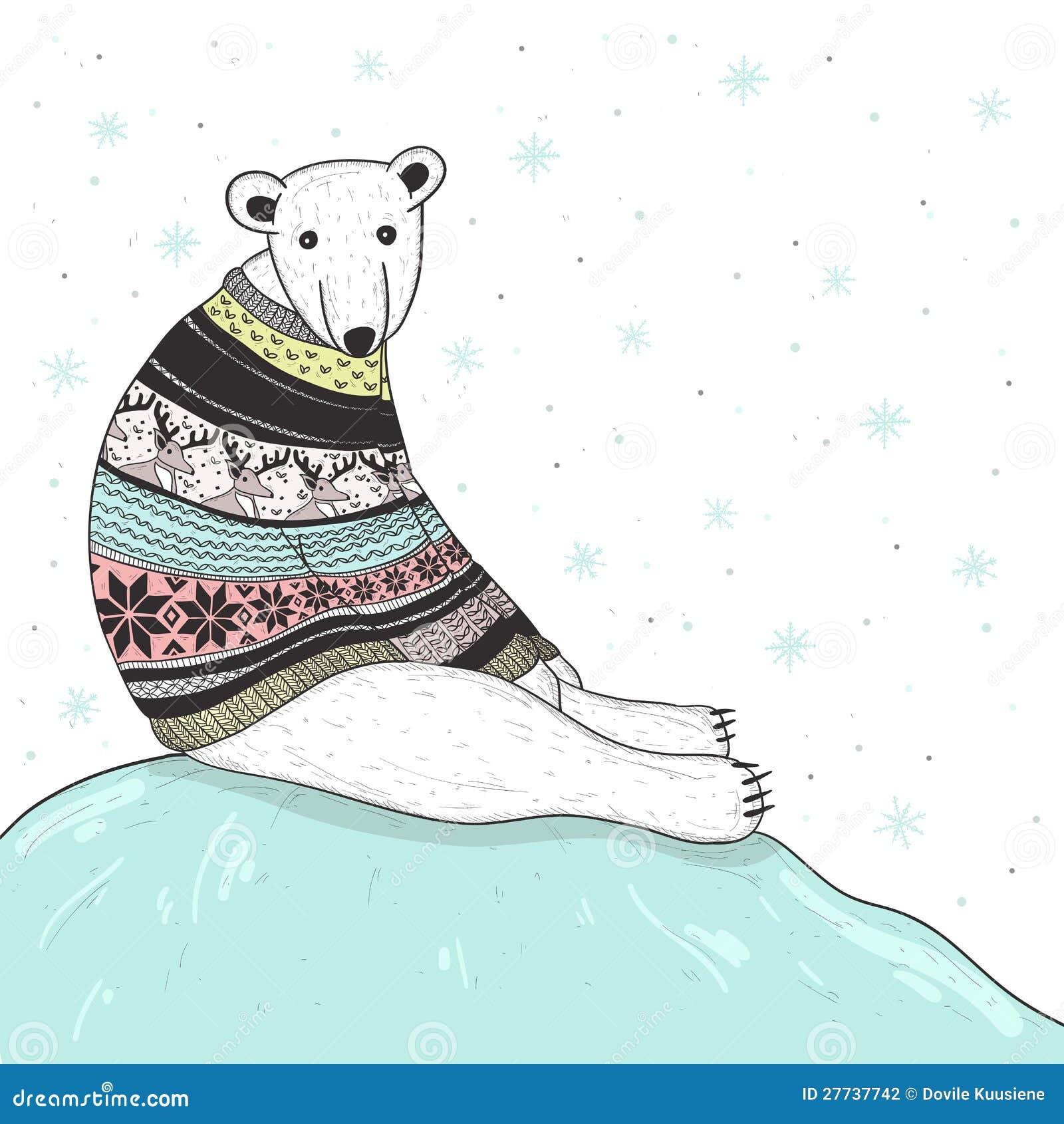 Cartão de Natal com o urso polar bonito