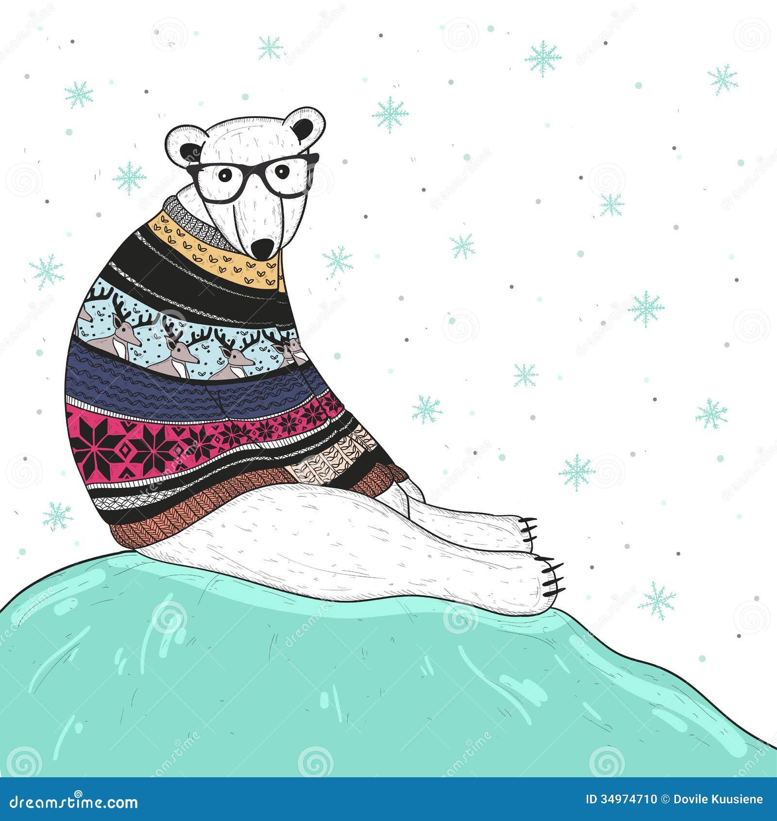 Cartão de Natal com o urso polar do moderno bonito