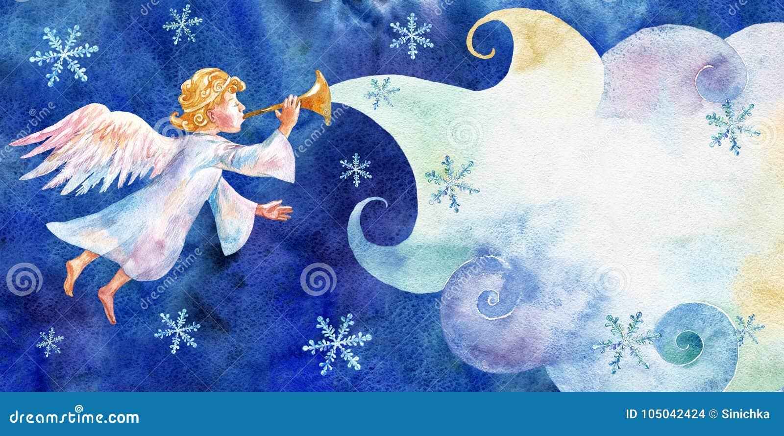 Cartão de Natal com pouco anjo Aquarela no fundo azul