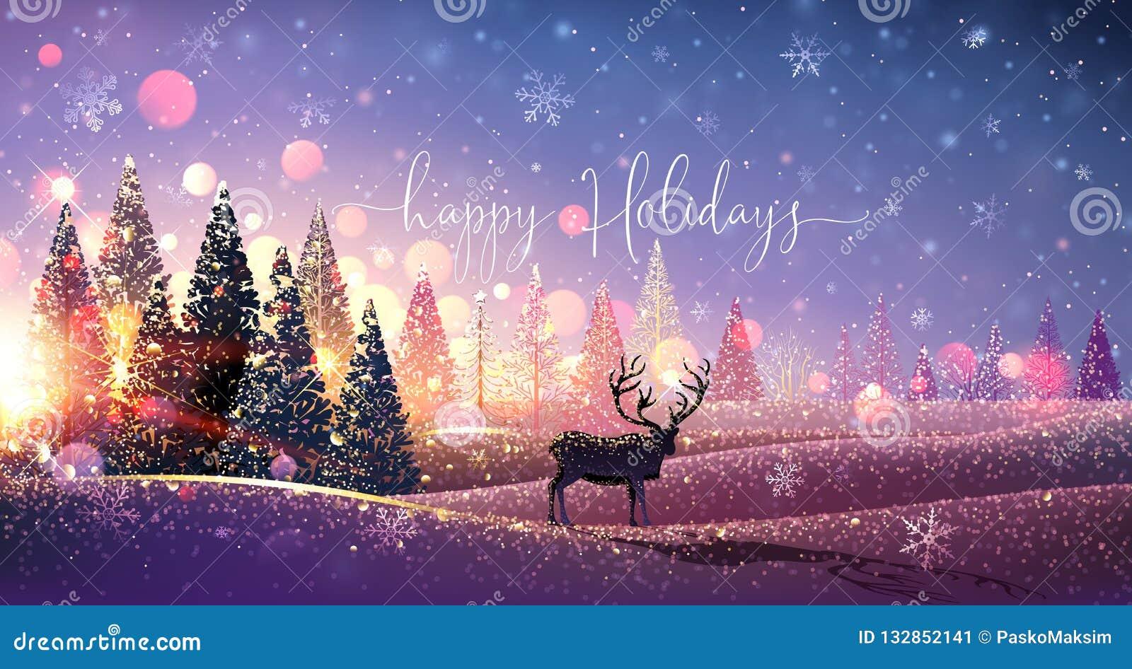 Cartão de Natal com rena, inverno Sunny Landscape Vetor