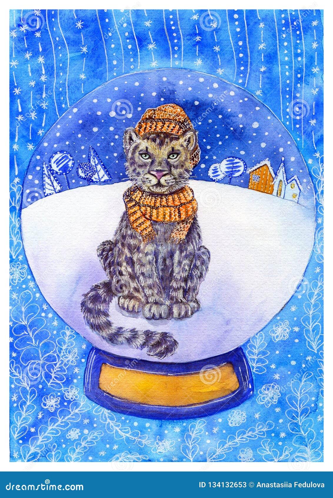 Cartão de Natal da aquarela com leopardo de neve em um chapéu e em um lenço