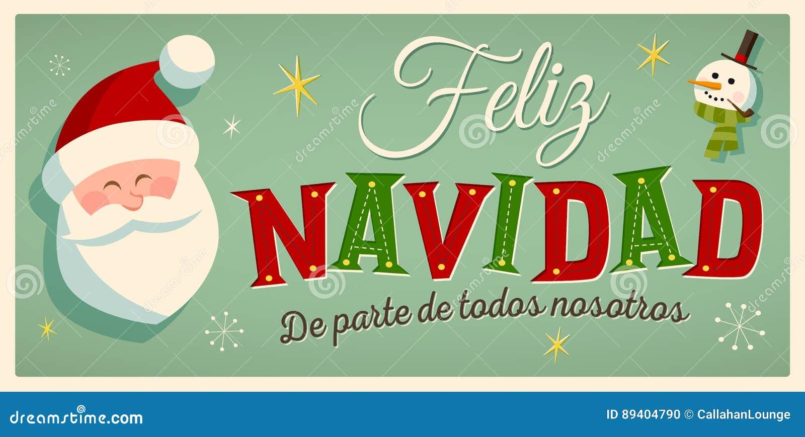 Cartão de Natal do estilo do vintage com Santa Claus e o boneco de neve