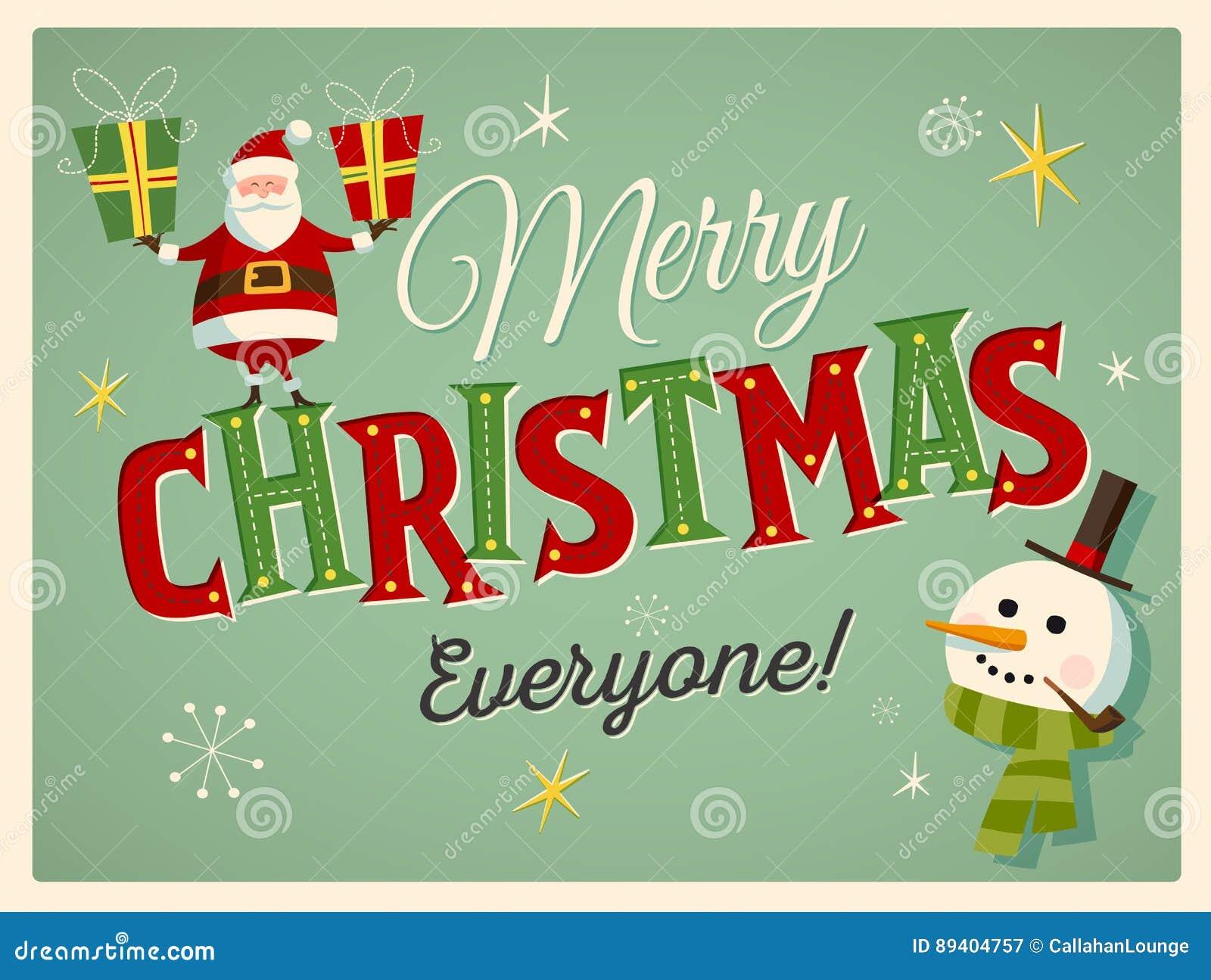 Cartão de Natal do estilo do vintage com Santa Claus e um boneco de neve