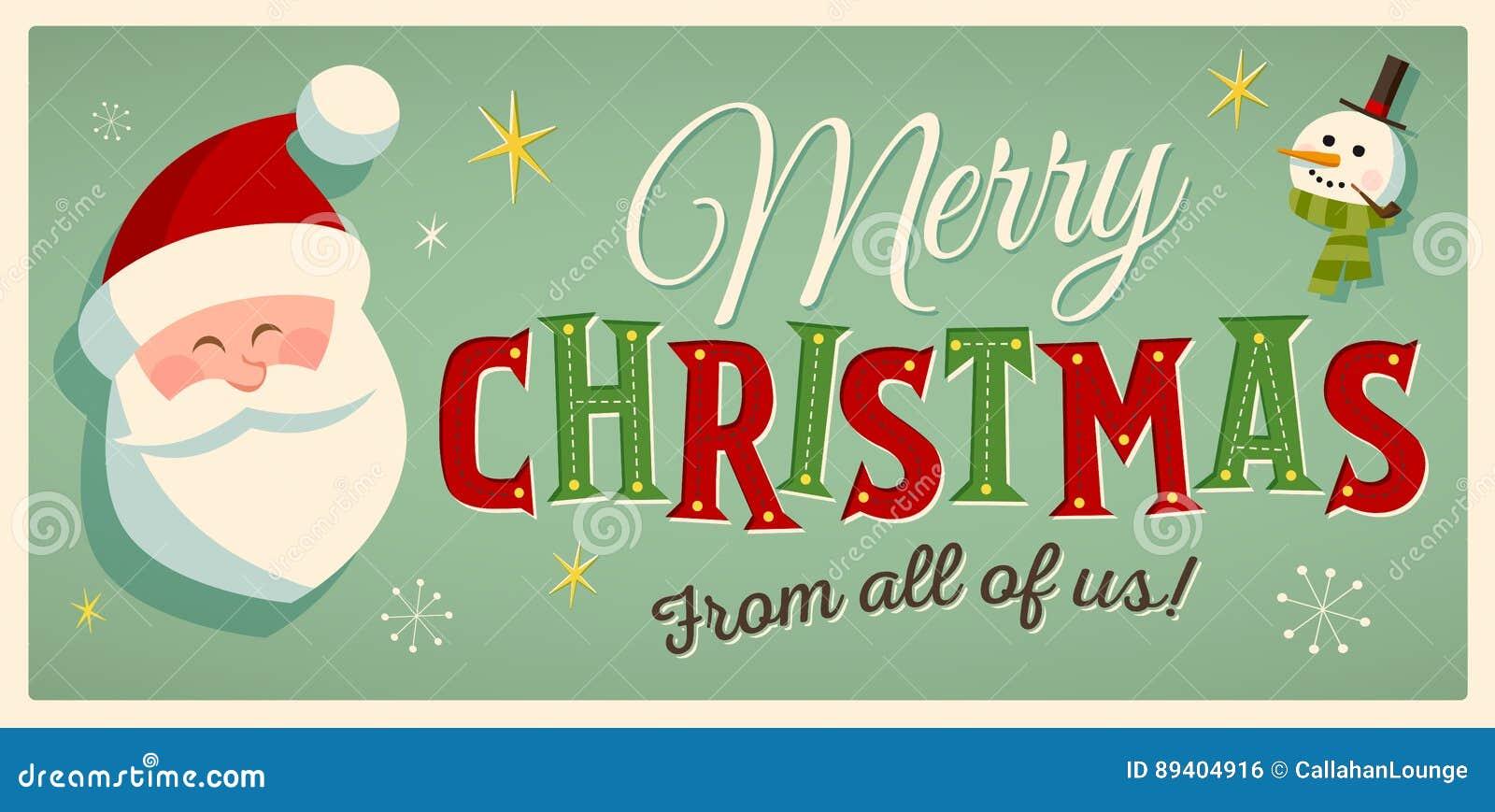 Cartão de Natal do estilo do vintage com Santa Claus e um boneco de neve EPS10