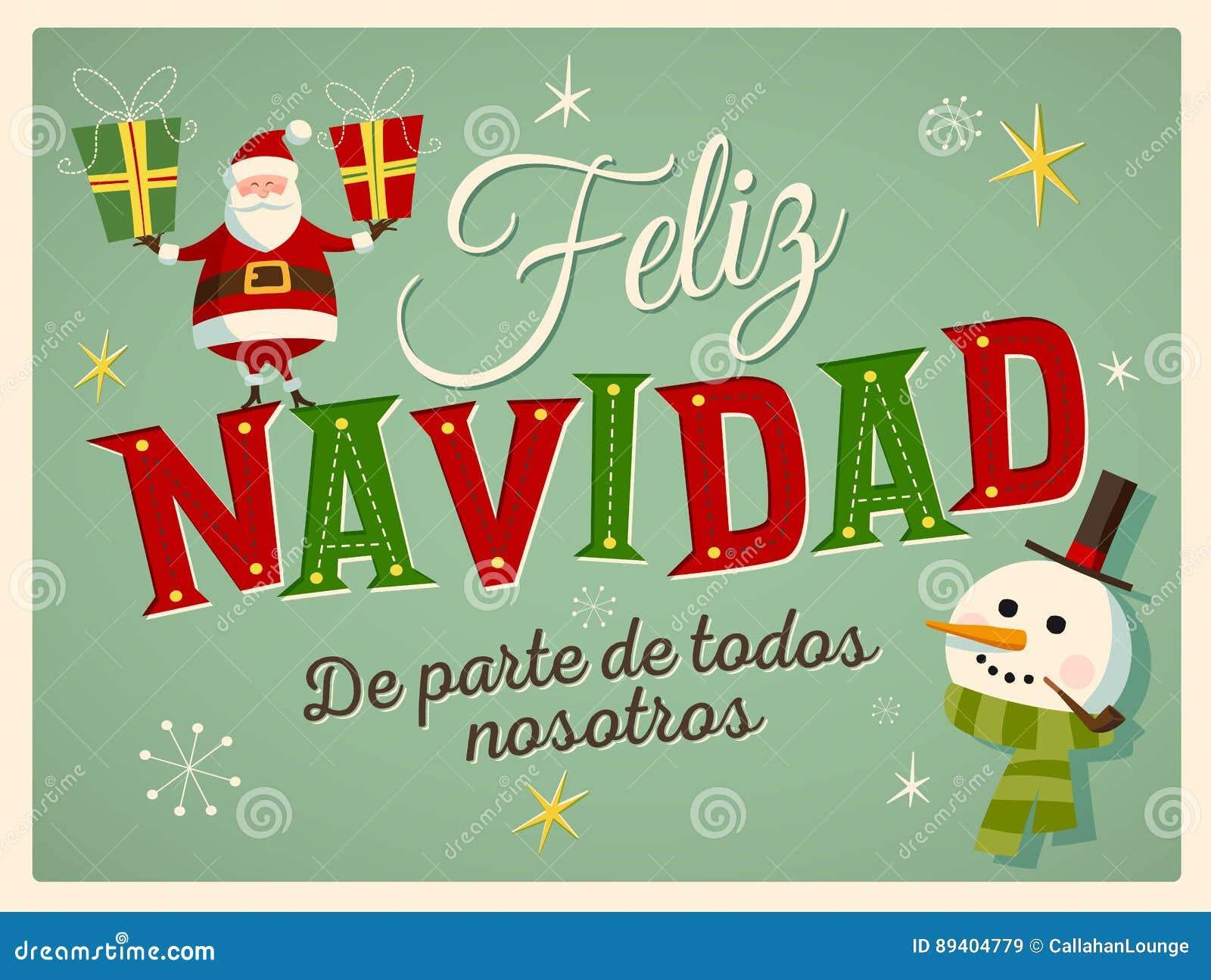 Cartão de Natal do estilo do vintage no espanhol ` Dos nosotros de Feliz Navidad de parte de TODOS do `