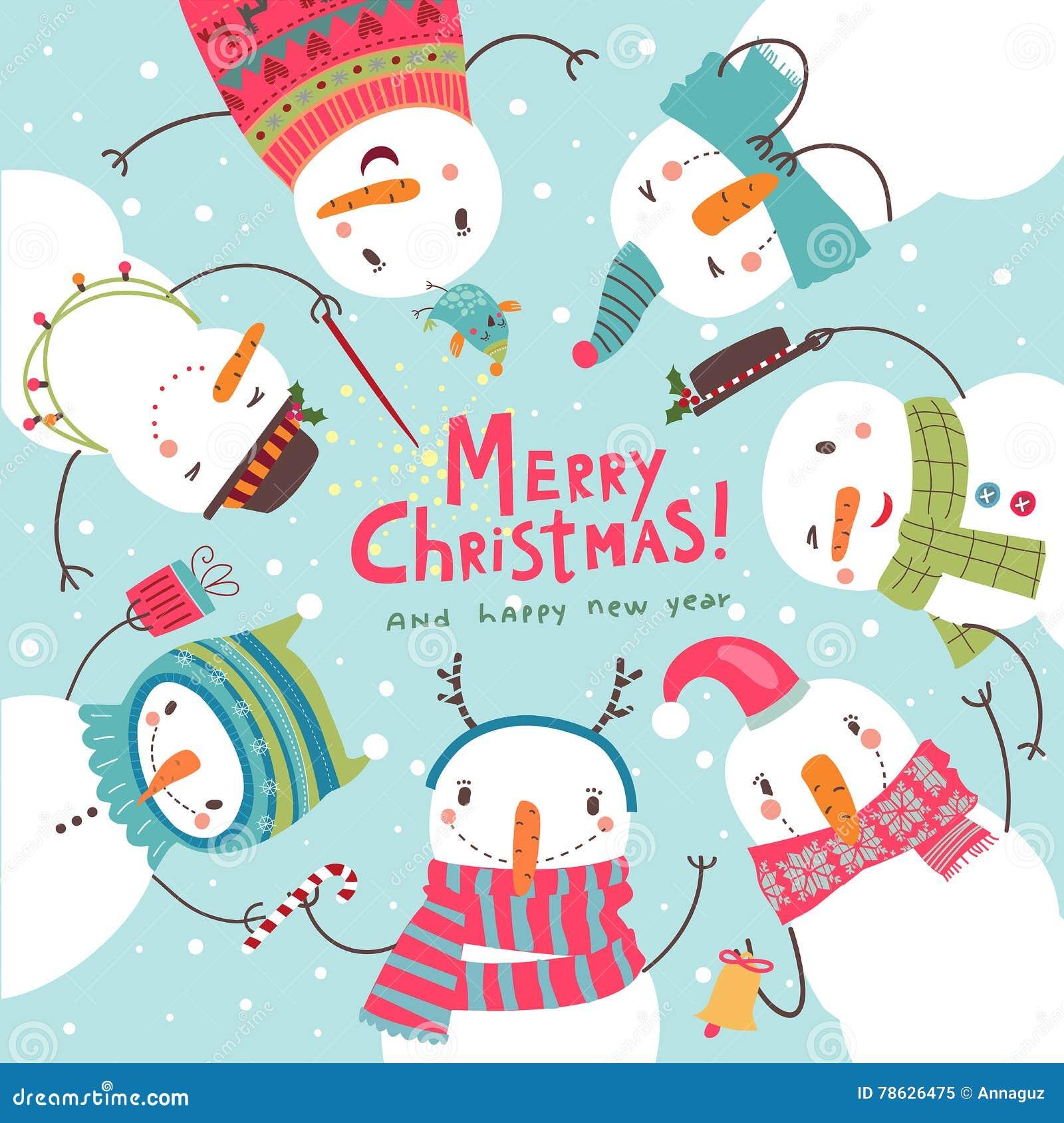 Cartão de Natal do Natal Dança redonda dos bonecos de neve