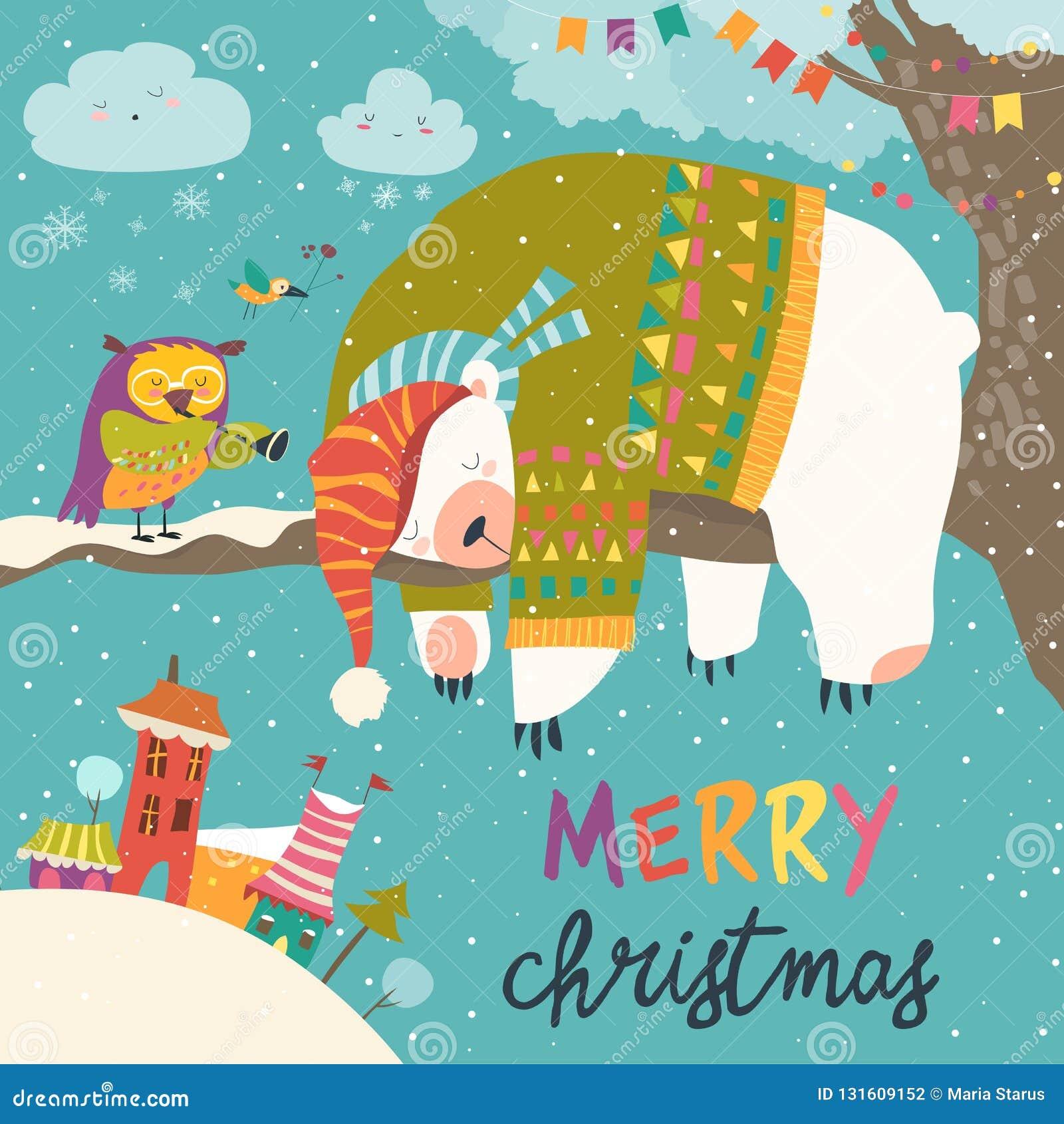 Cartão de Natal do vetor com o urso polar do sono e a coruja pequena