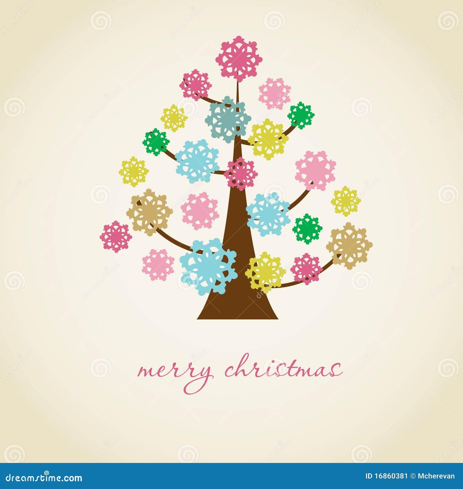 Cartão de Natal do vintage com a árvore do feriado no fl