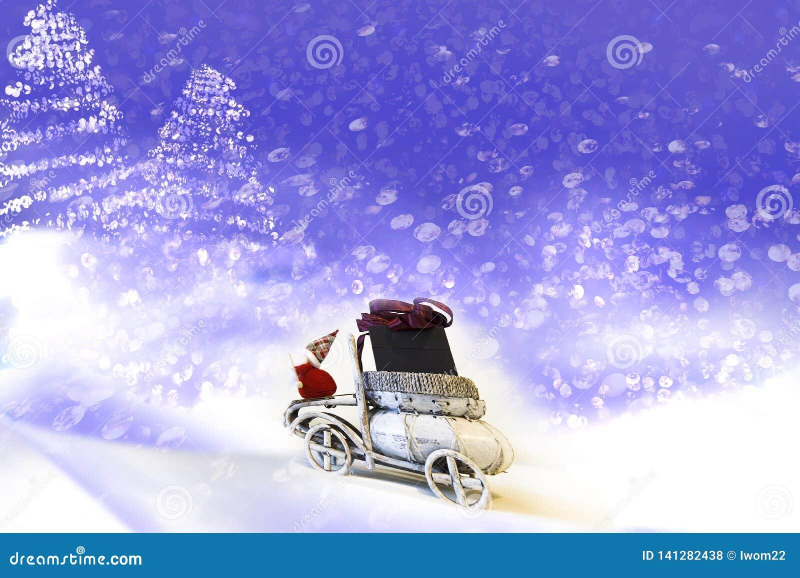 Cartão de Natal Papai Noel no carro