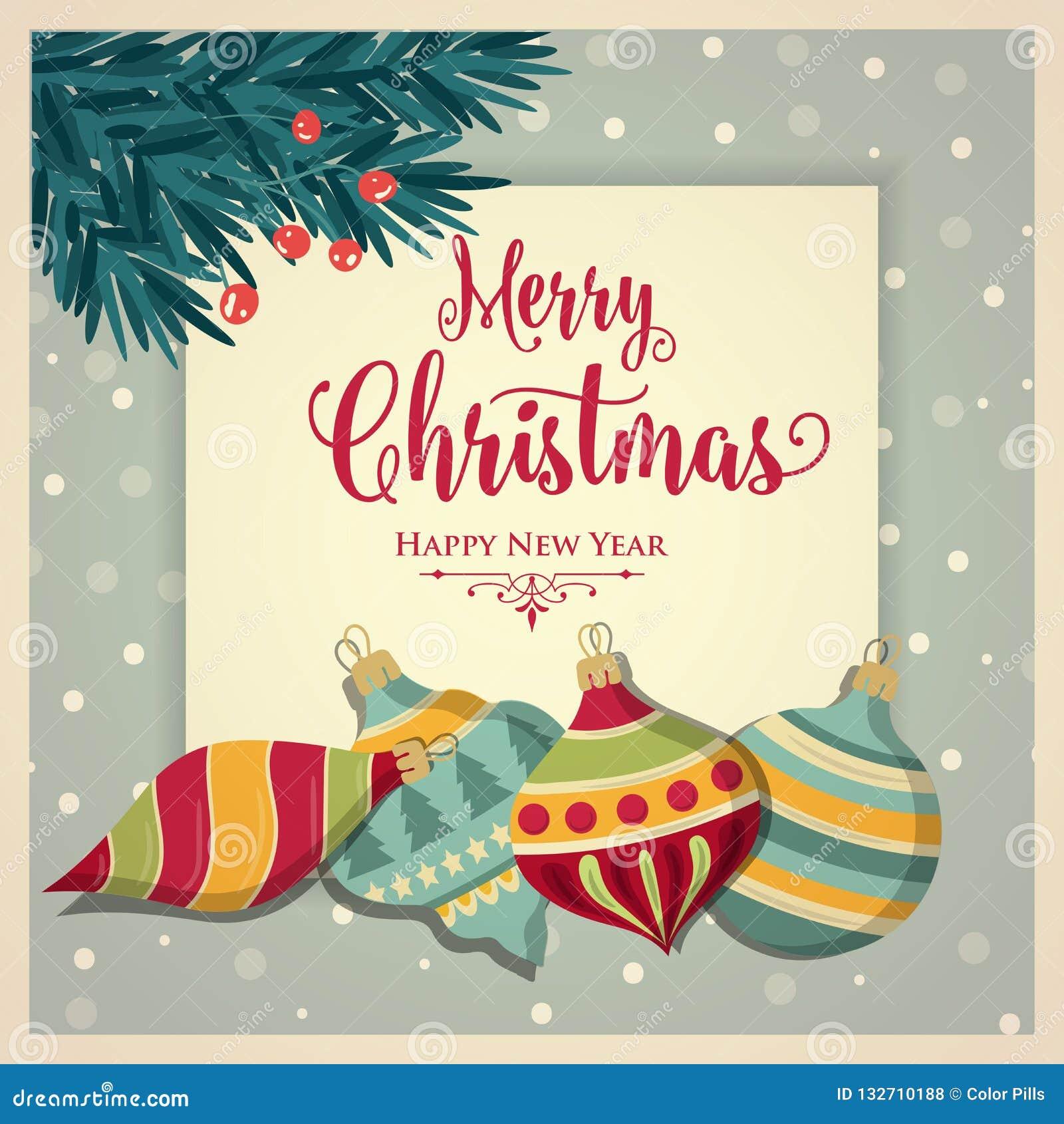 Cartão de Natal retro com quinquilharias