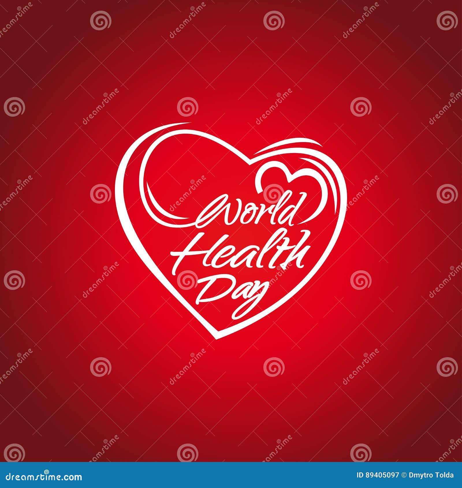 Cartão de rotulação do dia de saúde de mundo