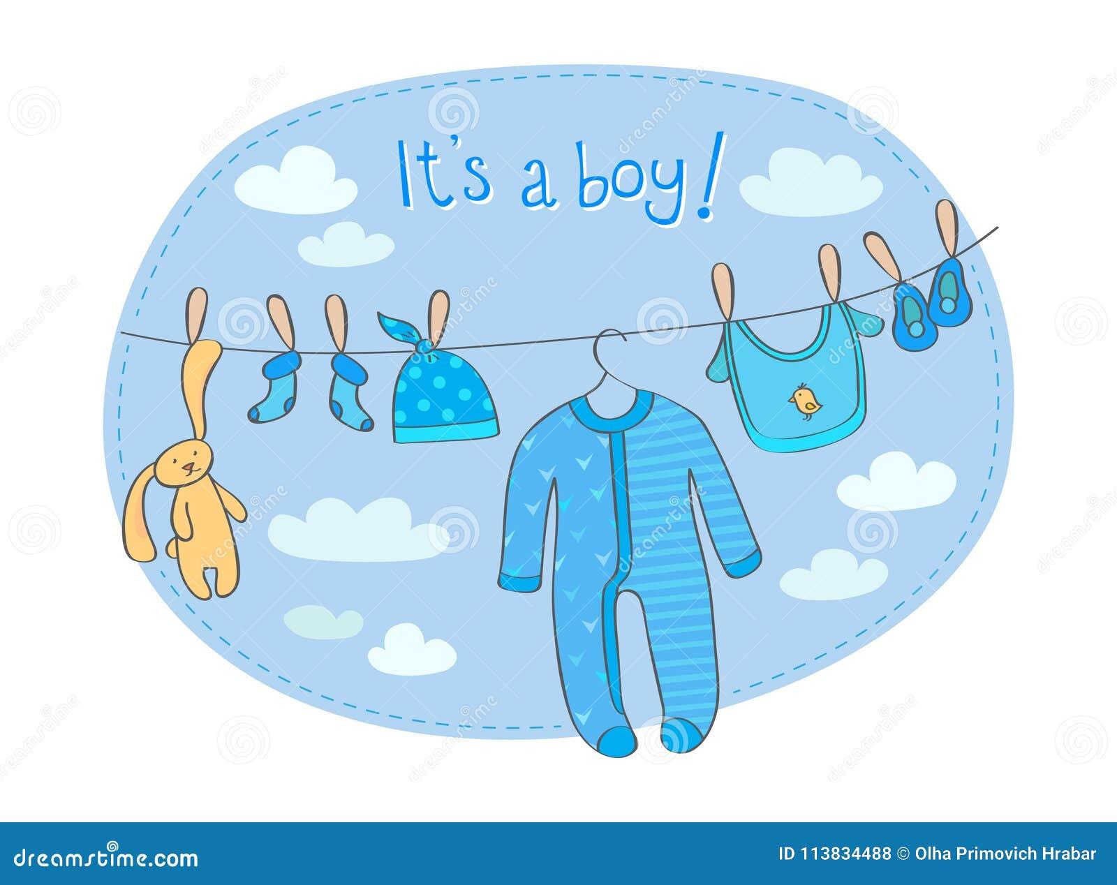 Cartão do anúncio do bebê com ` das palavras ele ` s um menino! `