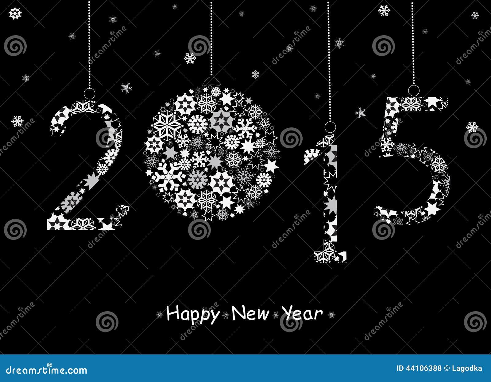 Cartão do ano 2015 novo feliz