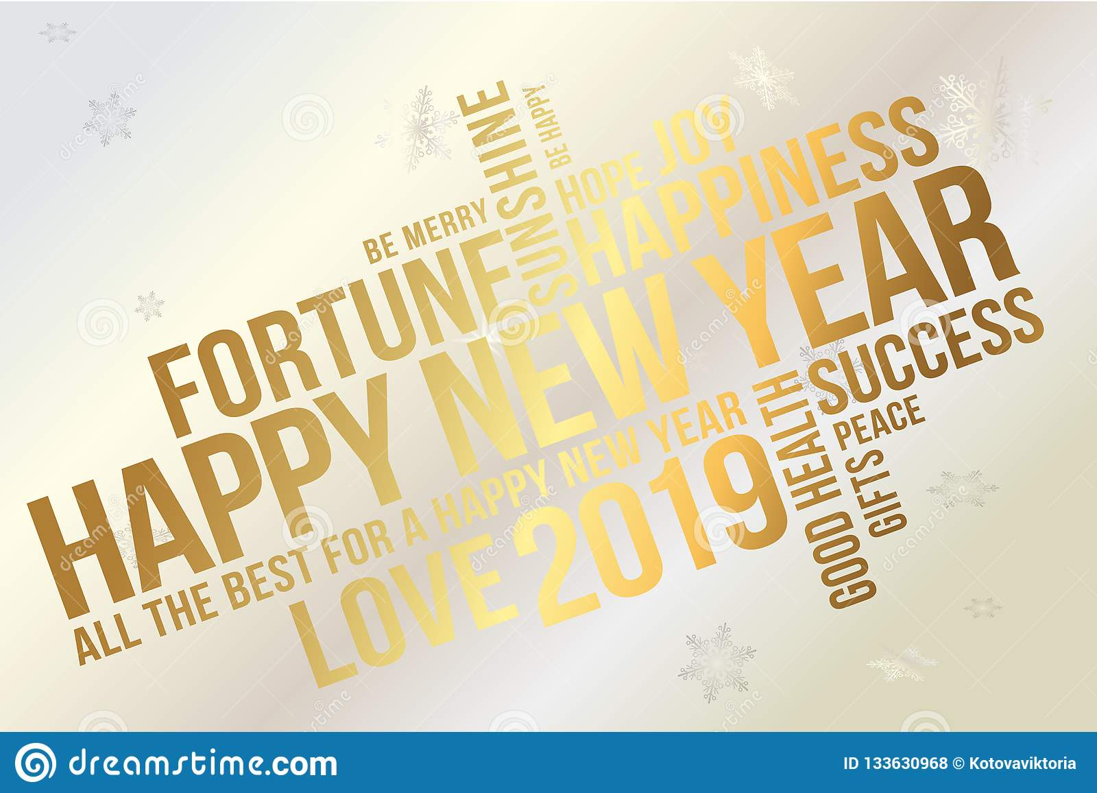 Cartão 2019 do ano novo feliz Desejos cada sucesso, felicidade, alegria, melhor de tudo, boa saúde, amor