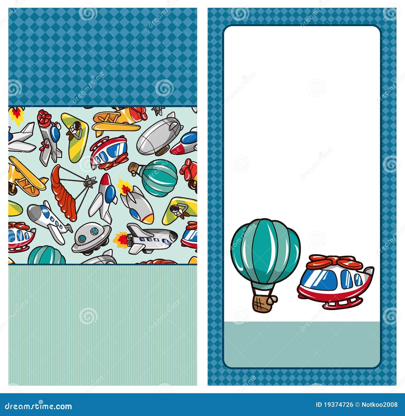 Cartão do avião dos desenhos animados