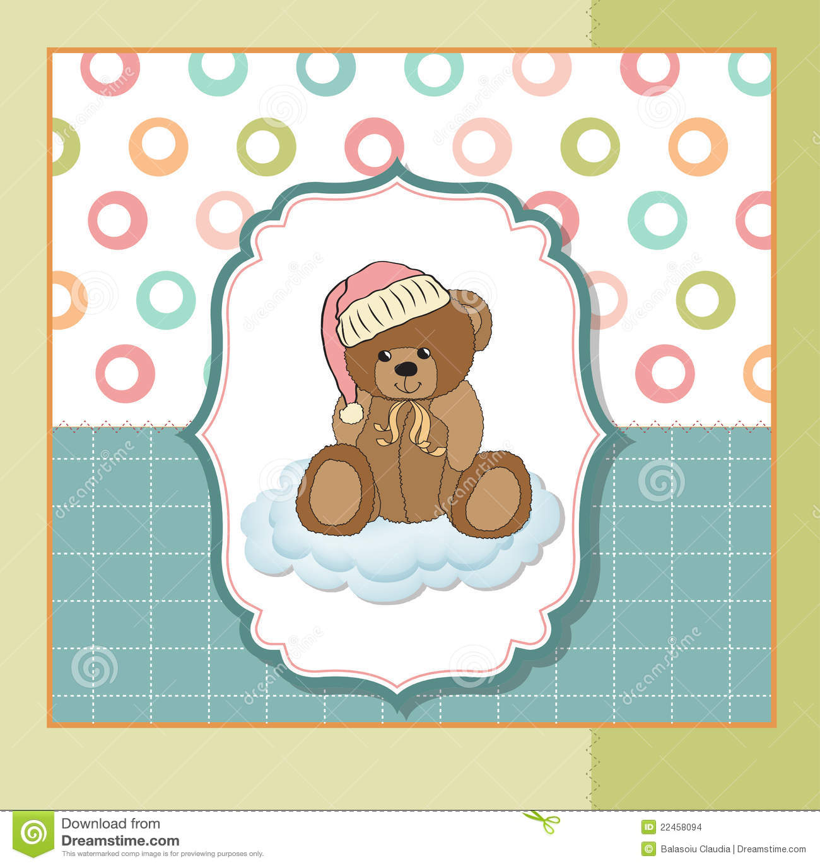 Cartão do bebê com urso de peluche