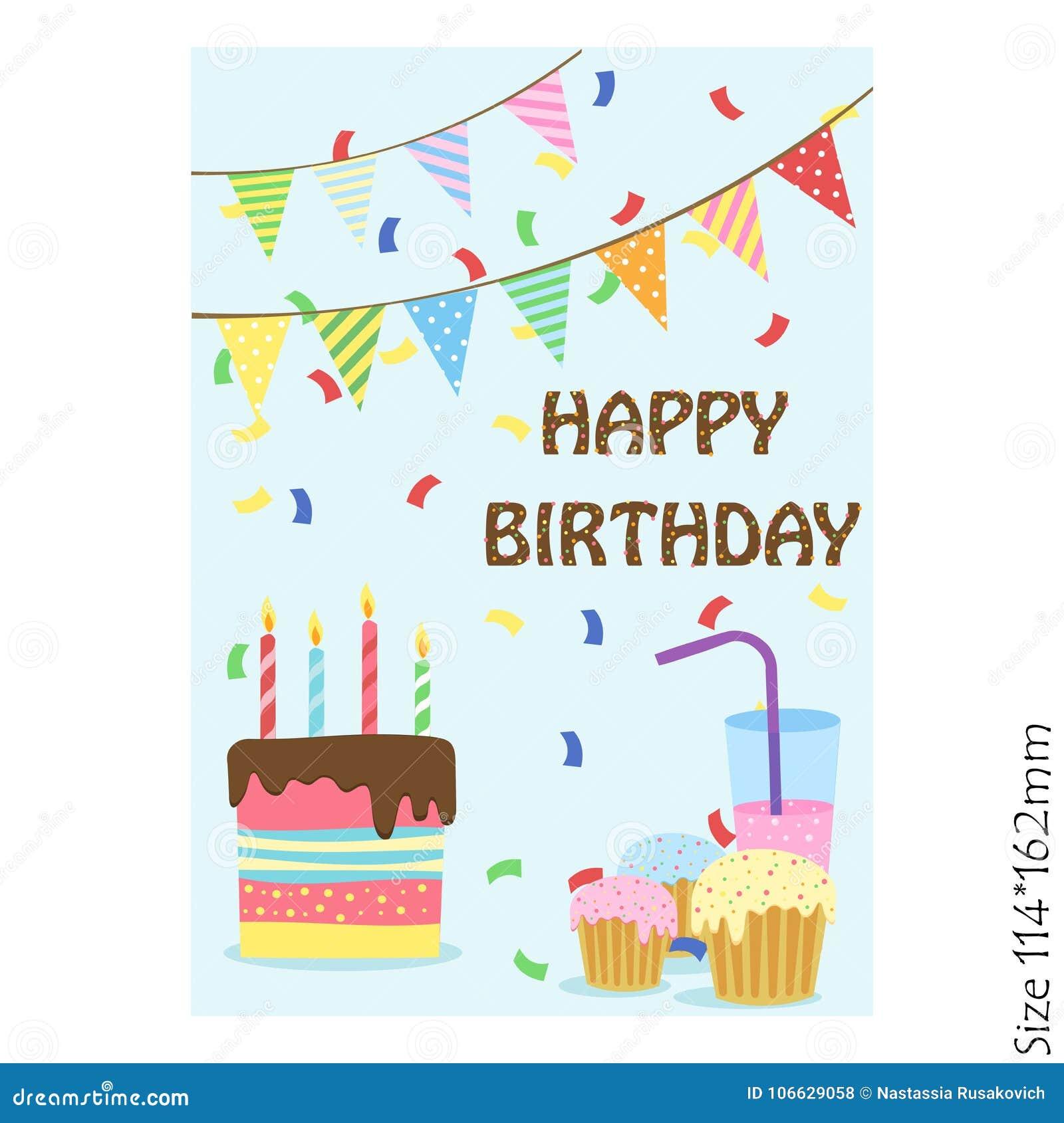 Cartão Do Bolo Do Feliz Aniversario Em Um Fundo Azul Ilustração do ... 41ece3979f105