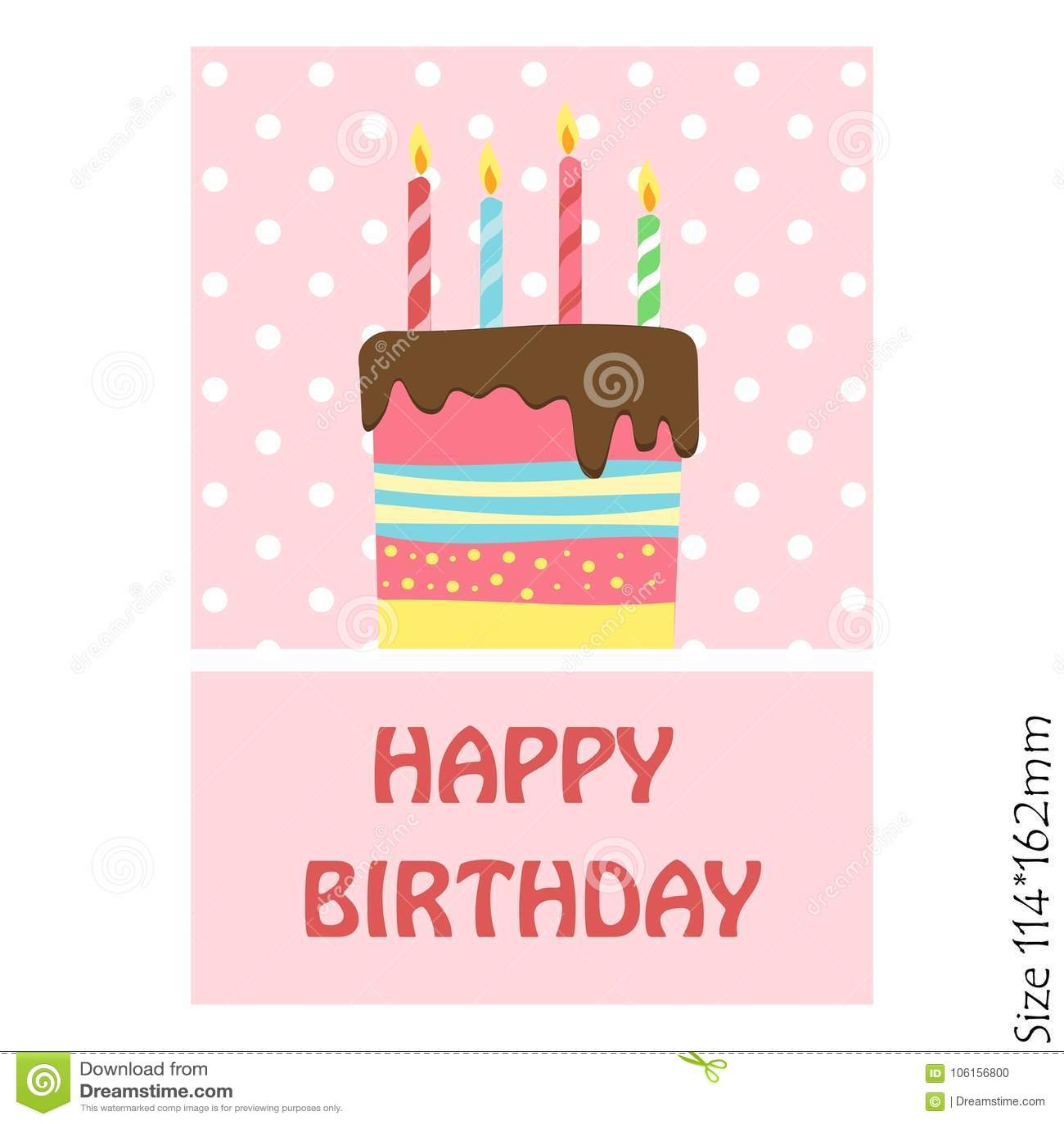 Cartão Do Bolo Do Feliz Aniversario Em Um Fundo Cor-de-rosa ... 2d786b68a6d8e