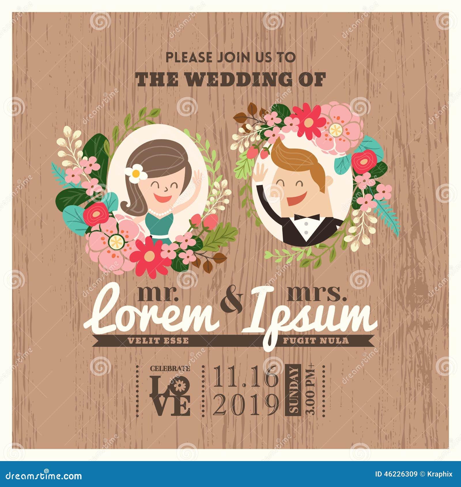 Cartão do convite do casamento com desenhos animados bonitos do noivo e da noiva