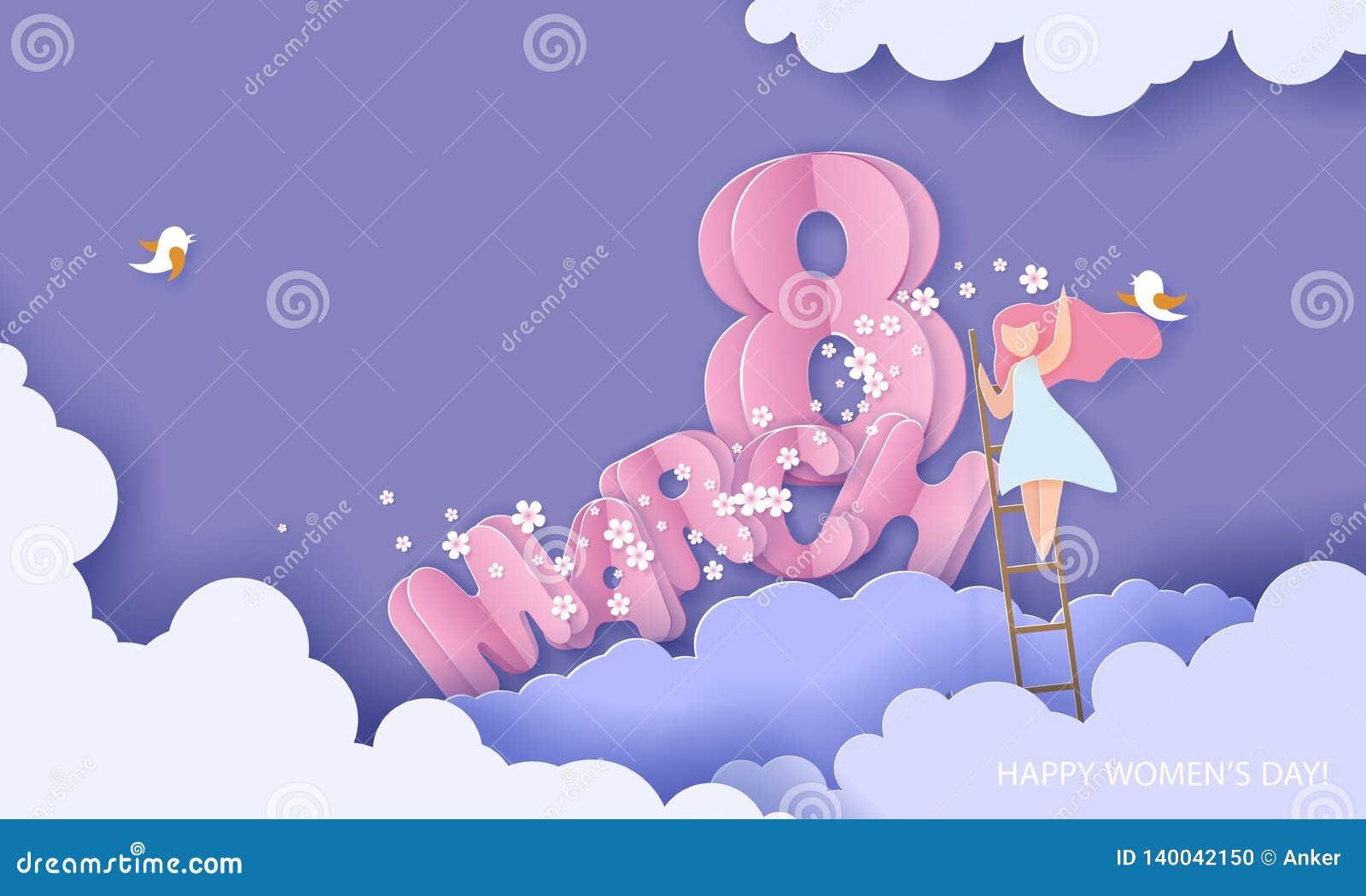 Cartão do corte do papel do dia das mulheres felizes do 8 de março