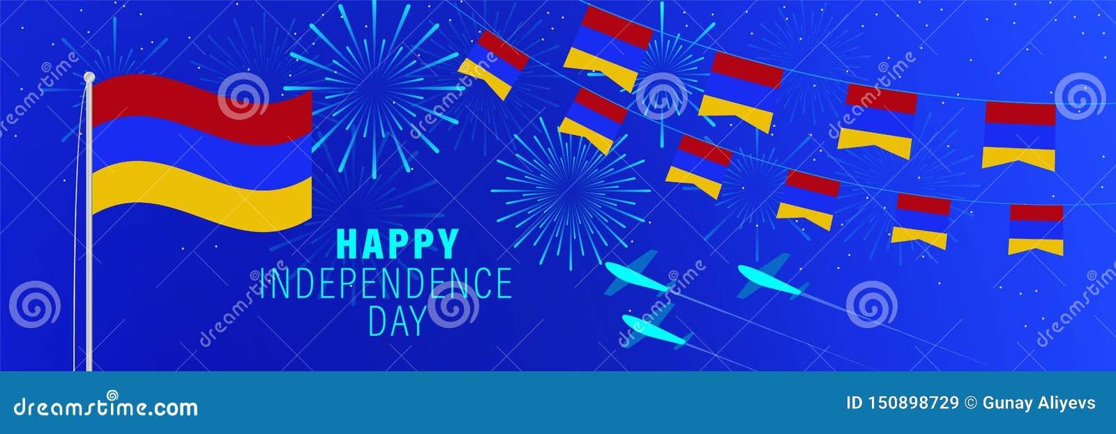 Cartãodo Dia da Independência de setembro 21 Armênia Fundo da celebração com fogos de artifício, bandeiras, mastro de bandeira e