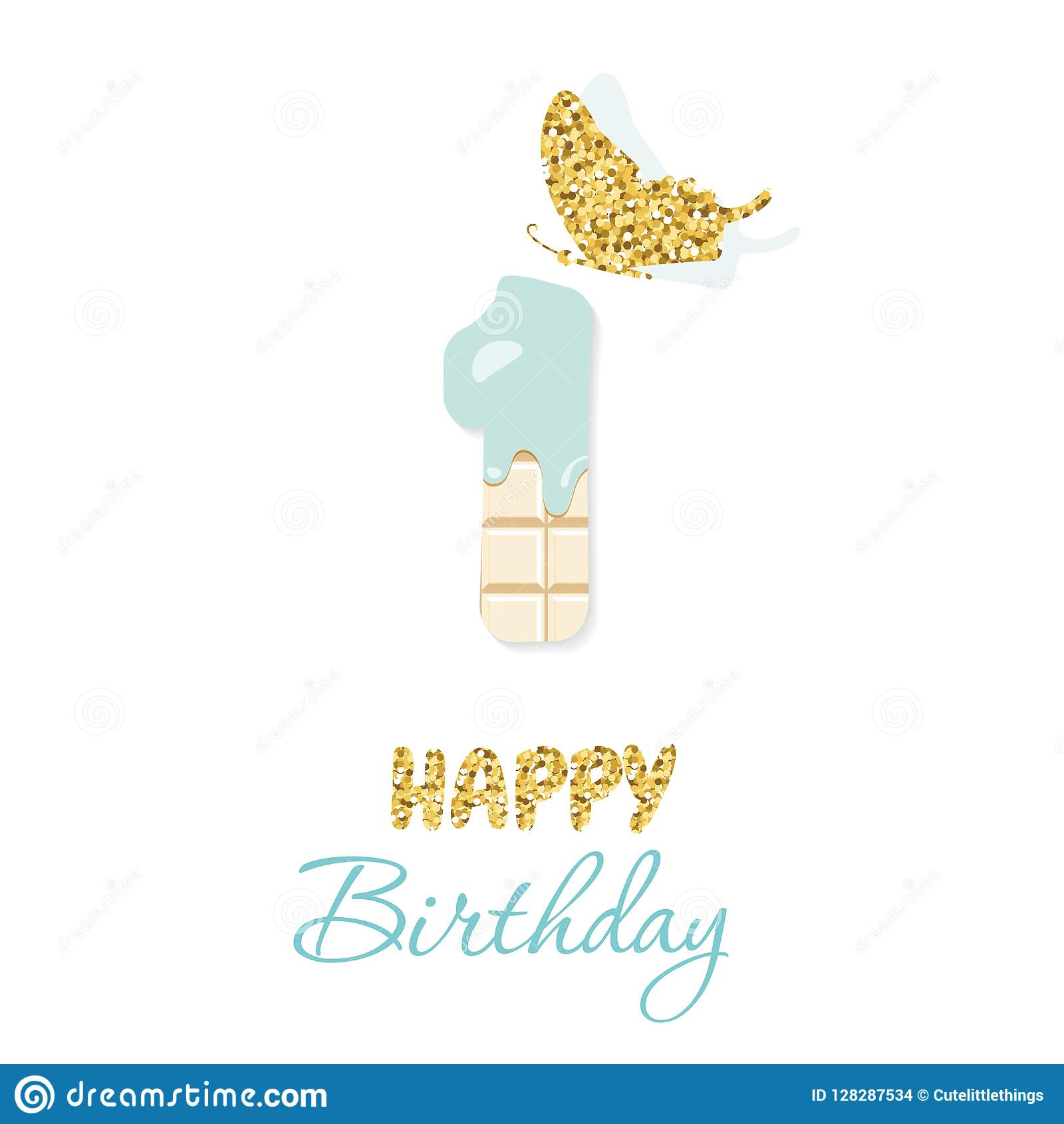 Cartão do feliz aniversario com chocolate número 1 e borboleta do brilho Um aniversário do bebê do ano DES minimalistic na moda