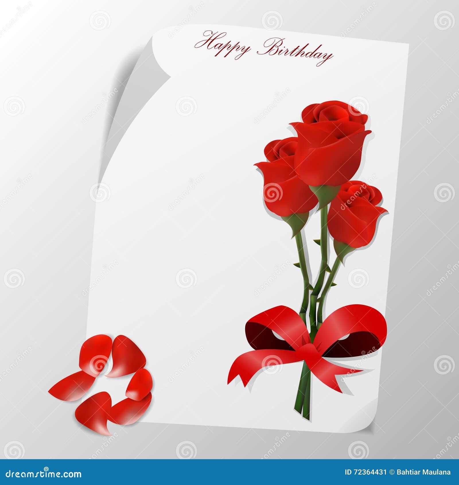cartão do feliz aniversario com flor das rosas ilustração do vetor