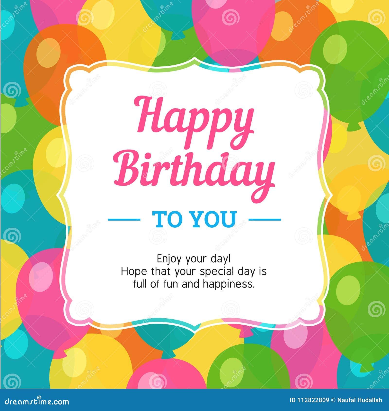 Cartão do feliz aniversario com fundo colorido do balão do partido