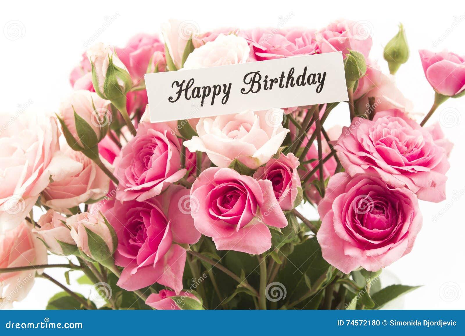 Flores De Aniversario: Cartão Do Feliz Aniversario Com O Ramalhete De Rosas Cor