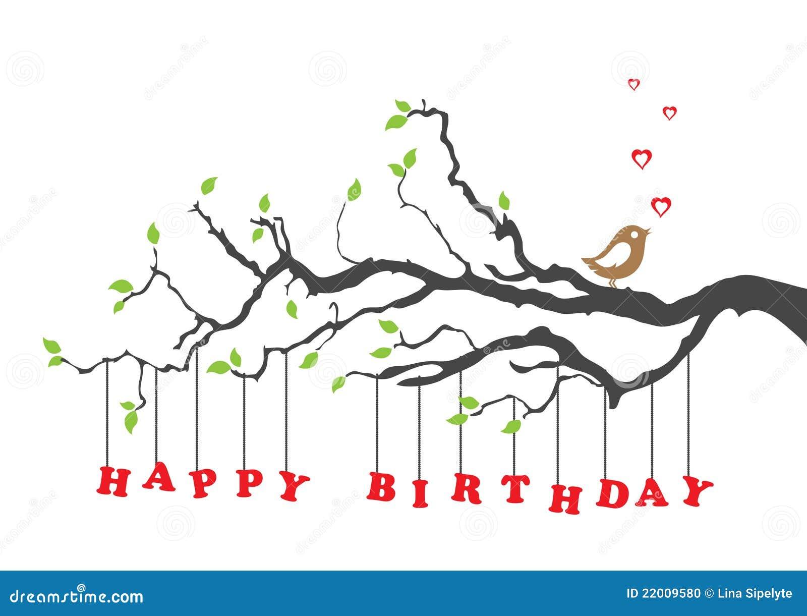 Cartão do feliz aniversario com pássaro