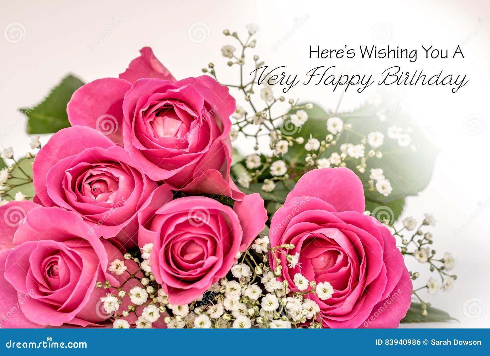 cartão do feliz aniversario das rosas ilustração stock ilustração