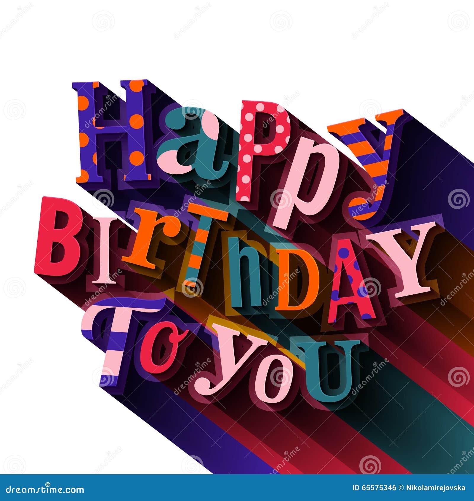 Cartão do feliz aniversario Texto com sombra colorida longa Vetor