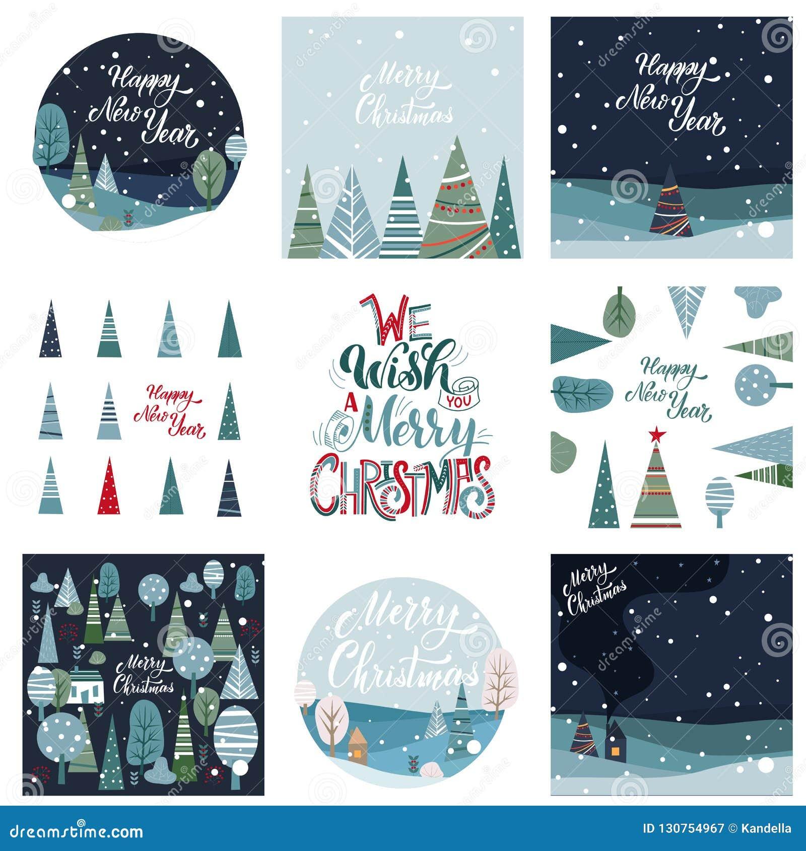 Cartão do Feliz Natal e do ano novo feliz
