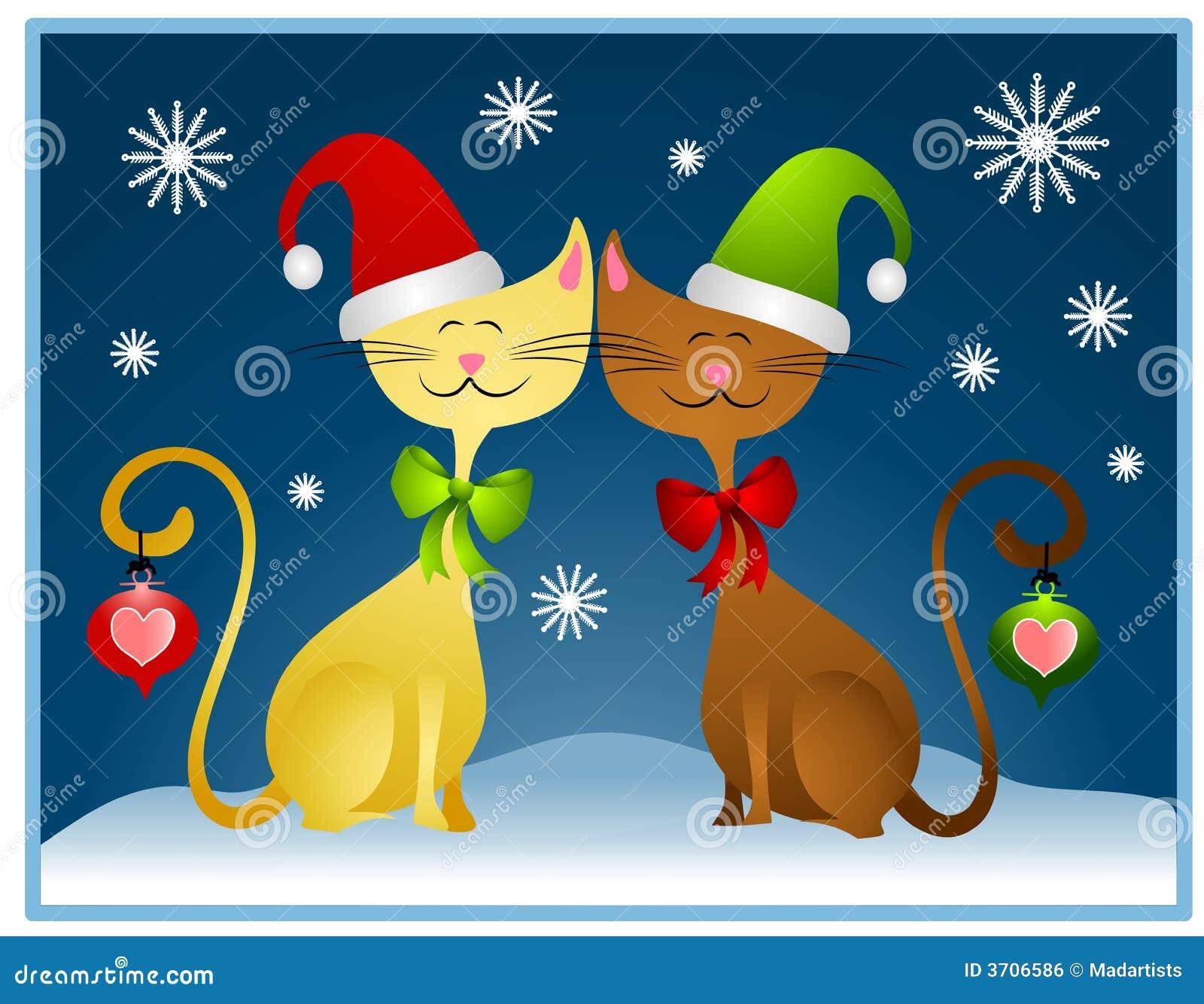 Cartão do feriado dos gatos do Natal dos desenhos animados