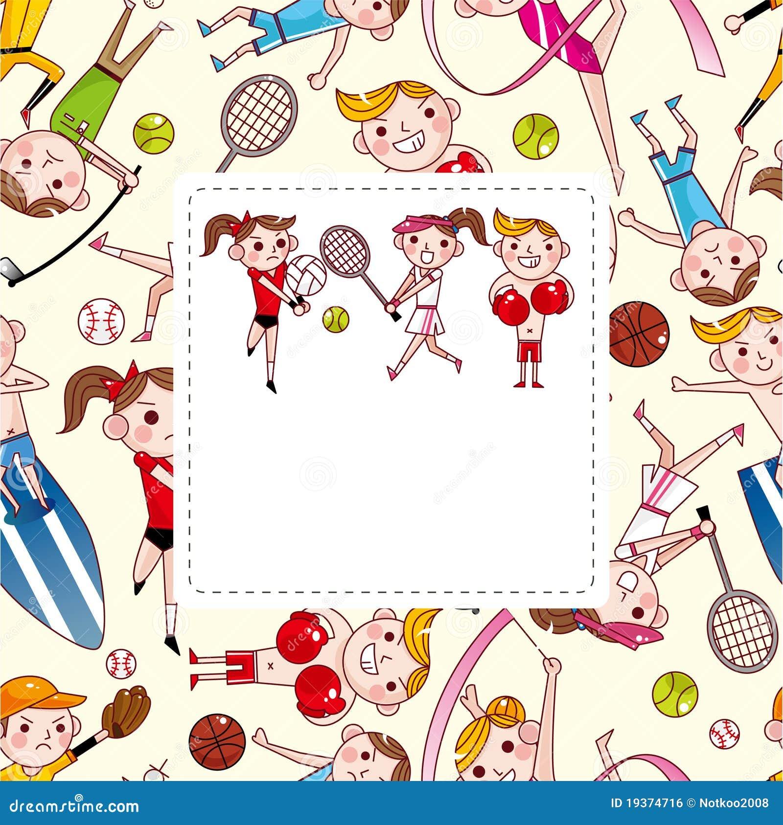 Cartão do jogador do esporte dos desenhos animados