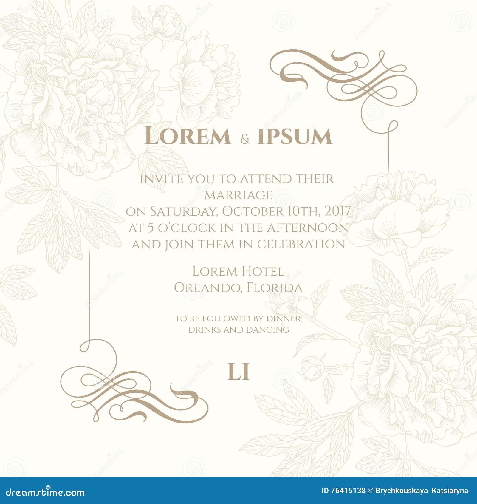Cartão do molde com elementos e a peônia caligráficos Fundo decorativo para cartões, convites