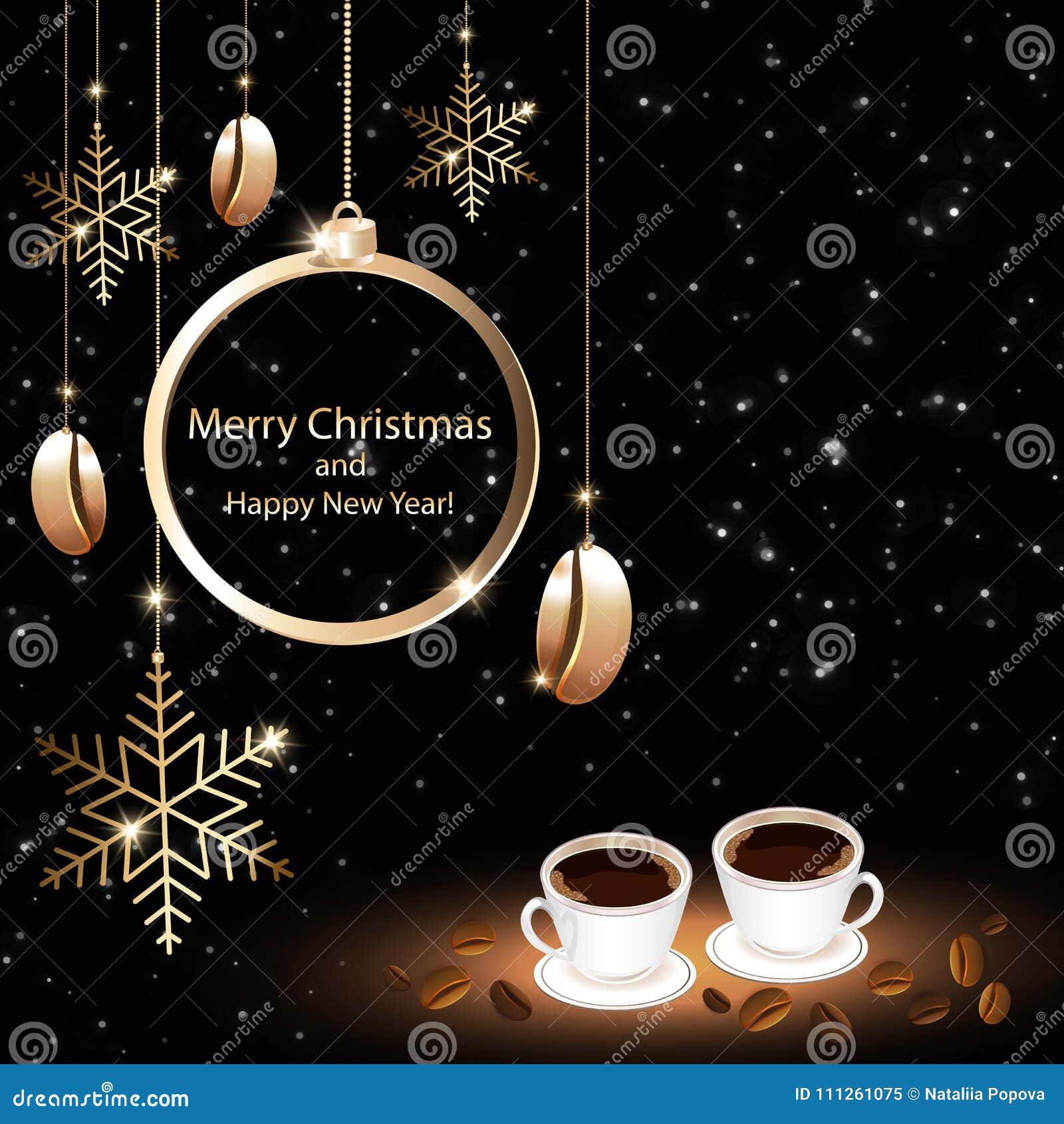 Cartão do Natal das casas do café