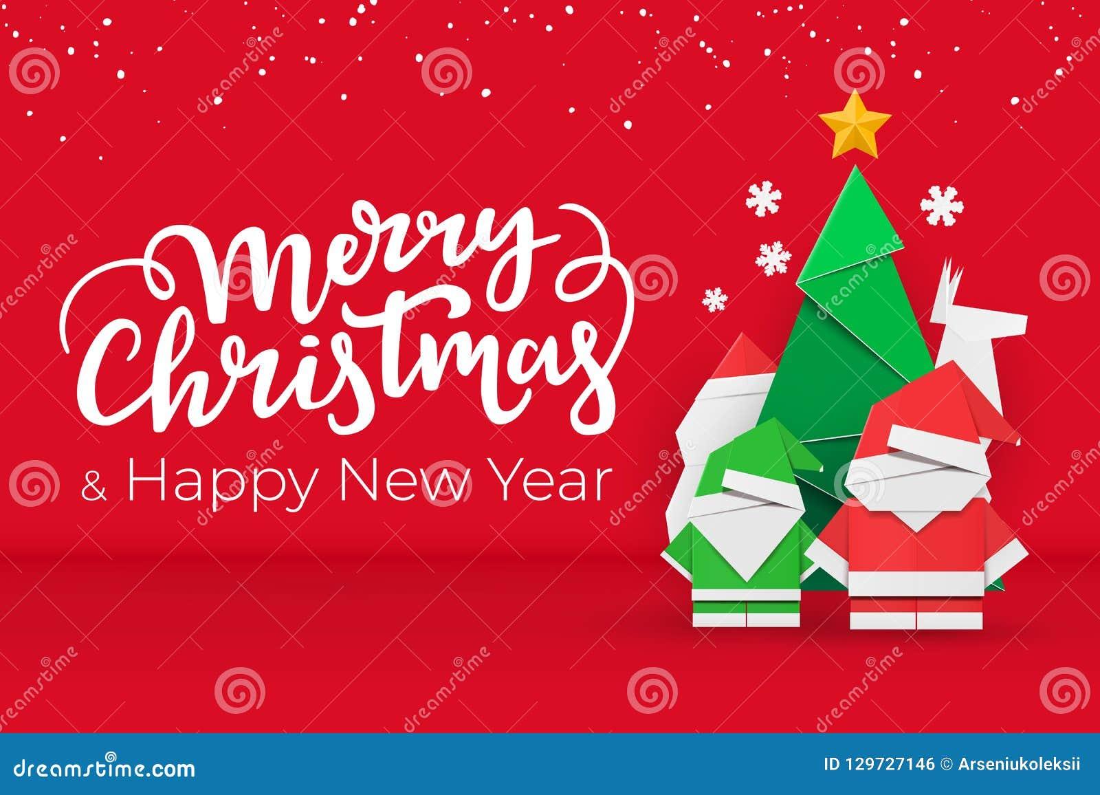 Cartão do Natal e do ano novo com elementos do Xmas do papel feito a mão no fundo festivo vermelho com neve
