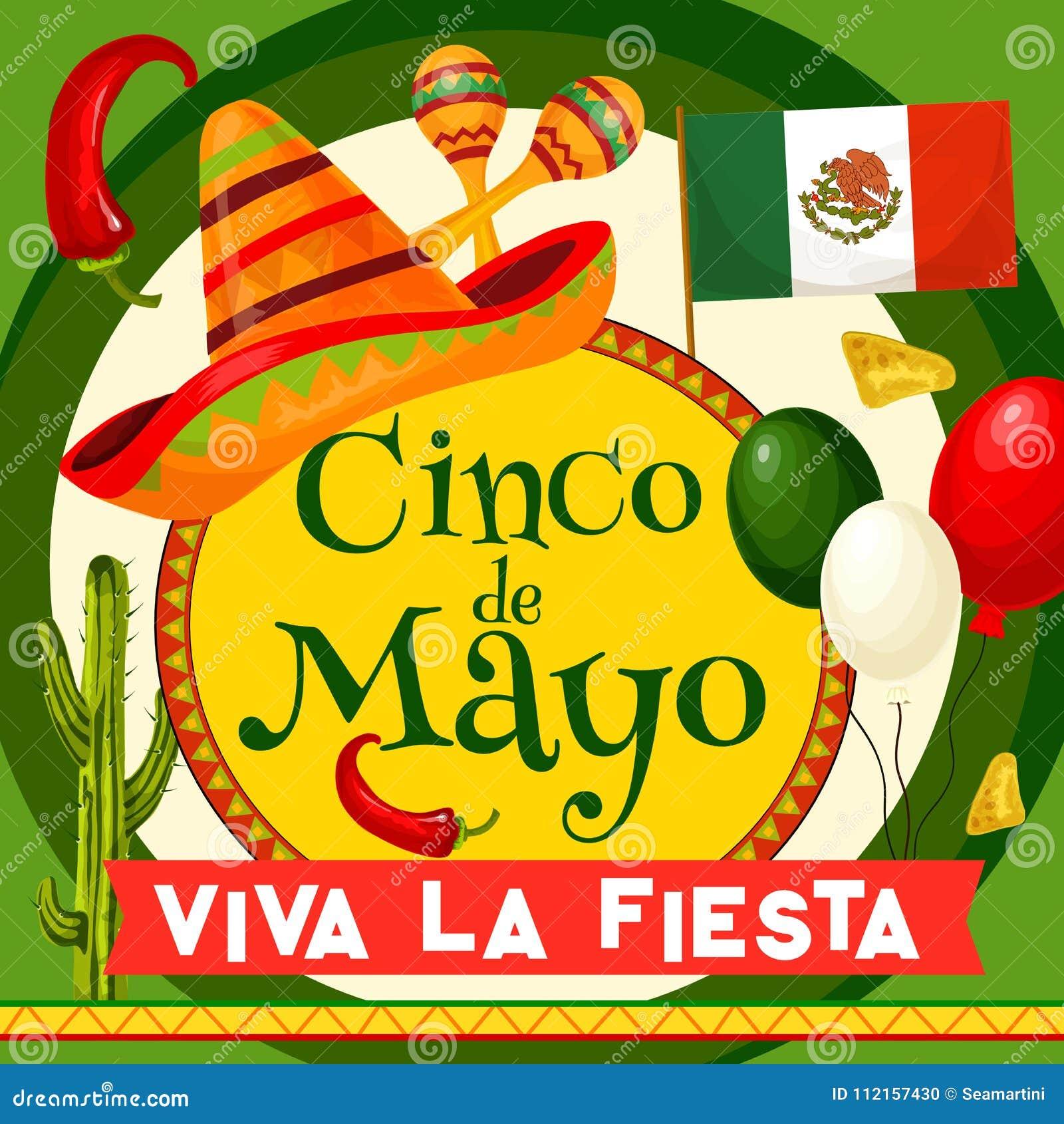 Cartão do partido do vetor de Cinco de Mayo Mexican