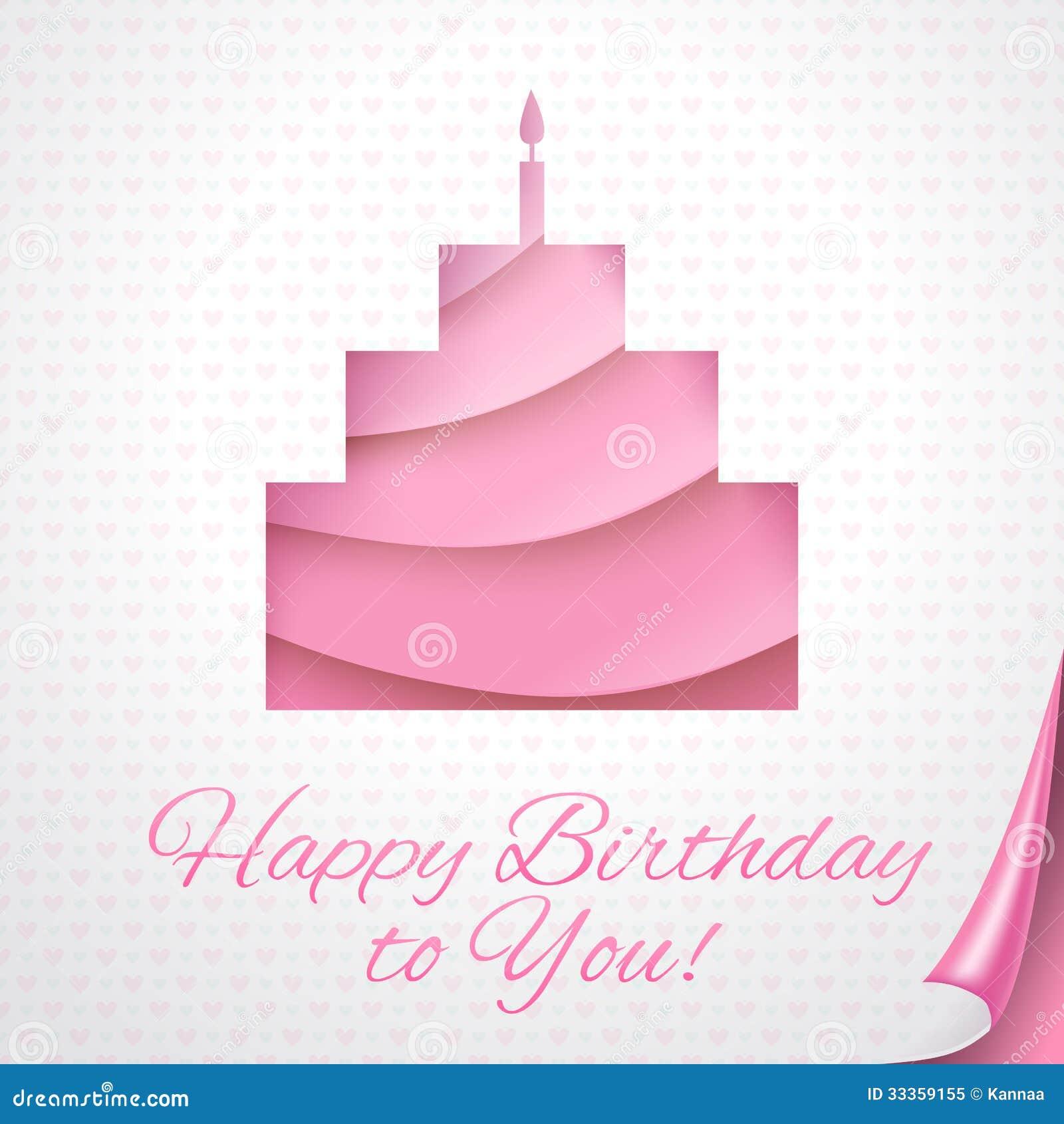 Cartão do rosa do feliz aniversario com bolo. Ilustração do vetor para sua  apresentação do feriado. Applique a torta em folhas de papéis cor-de-rosa  com ... 9b38eb295f31e