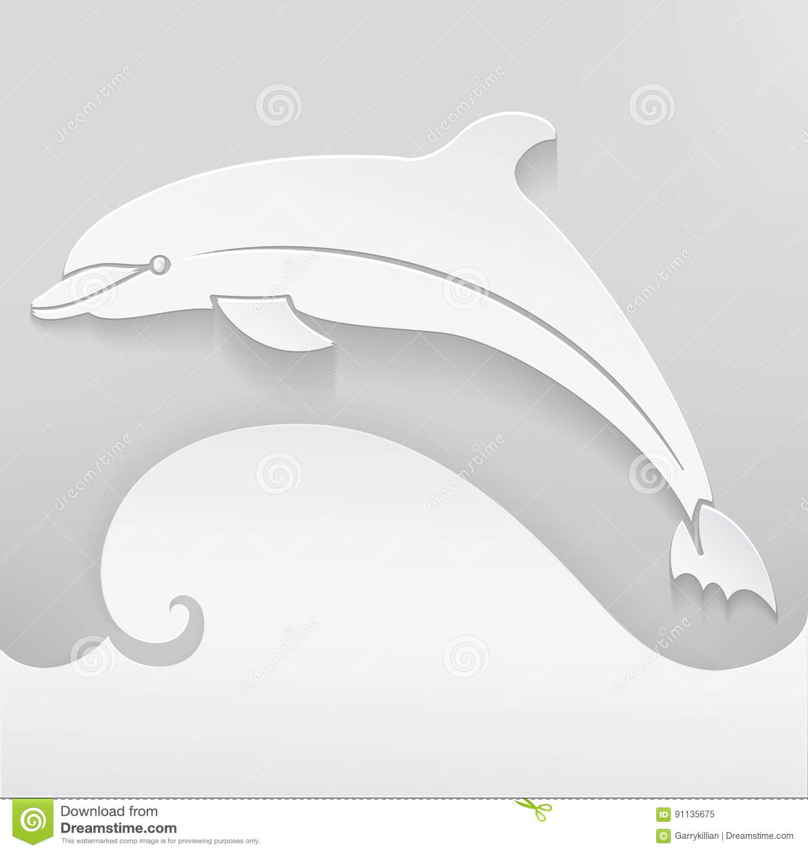 cartão do vetor com golfinho silhueta abstrata elementos 3d com