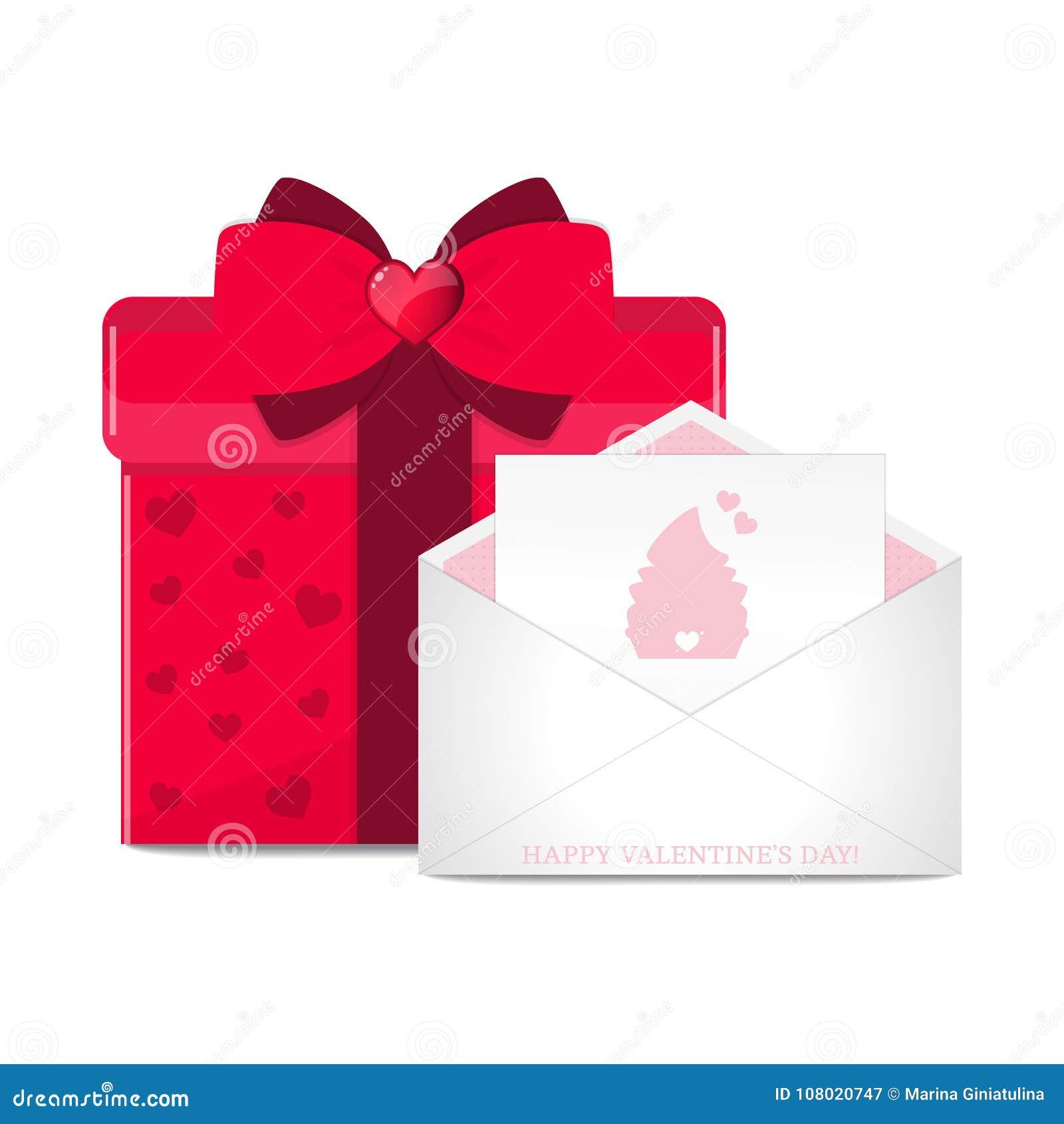 Cartão do vetor no envelope e na caixa de presente vermelha