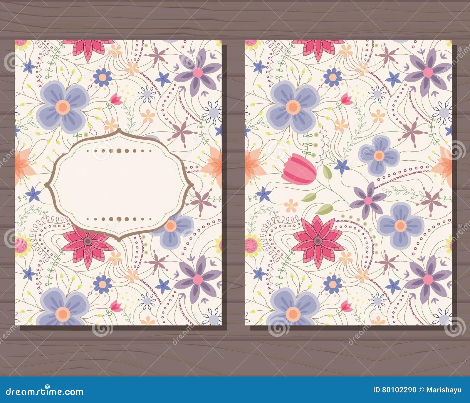 Cartão do vintage com flores