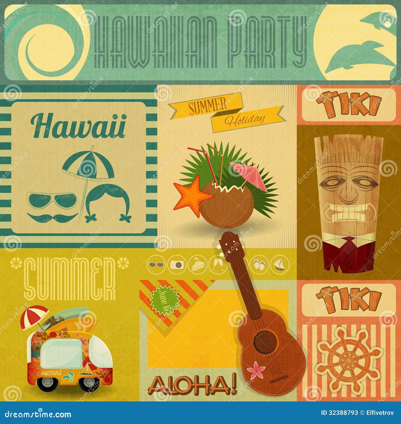 Cartão do vintage de Havaí