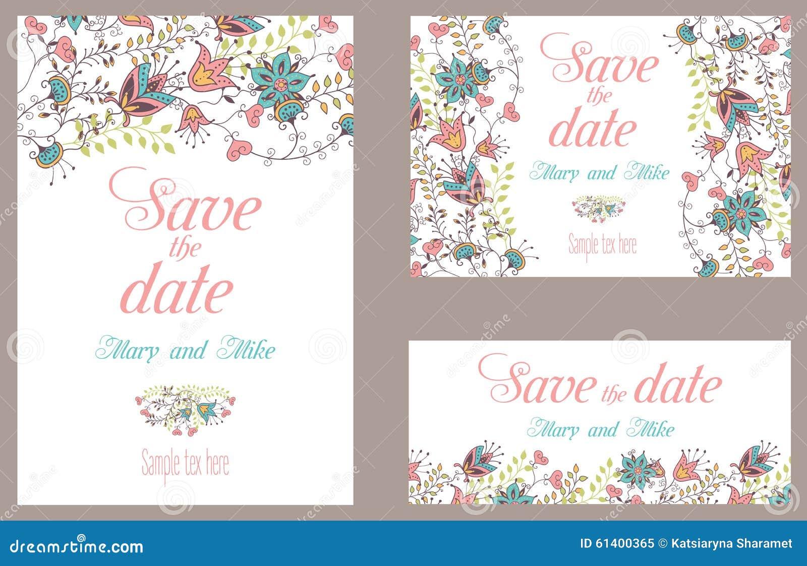 Cartão do vintage do convite do casamento com floral