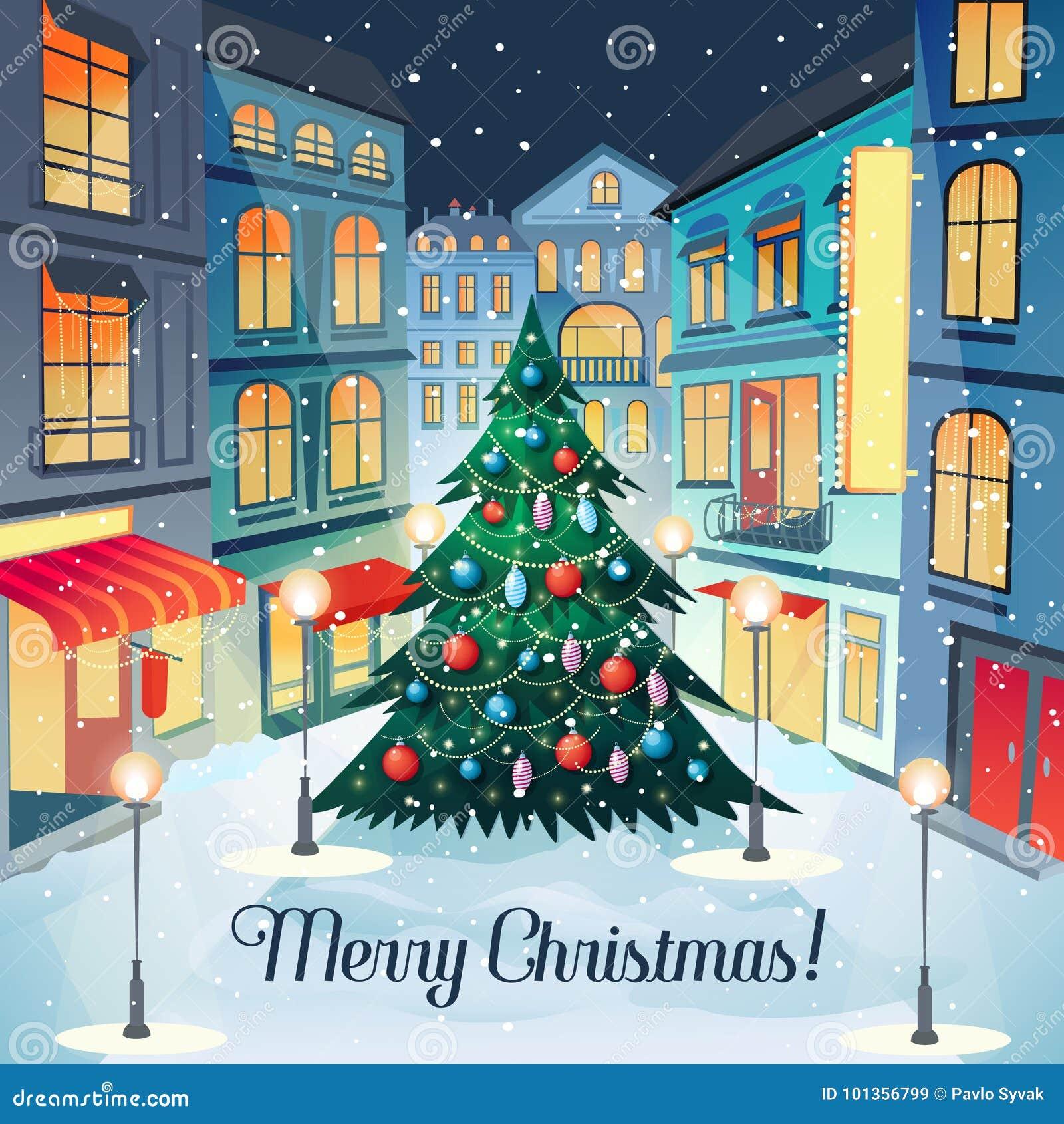 Cartão do vintage do Feliz Natal com árvore e arquitetura da cidade de Natal Cartão do ano novo feliz Feriados de inverno
