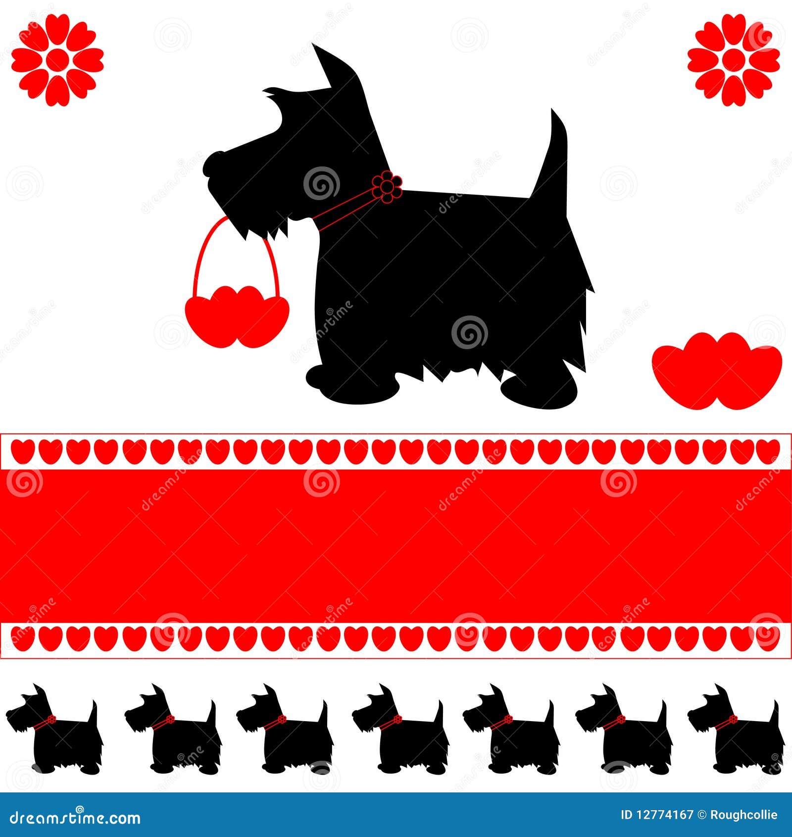 Cartão dos corações do amor do cão